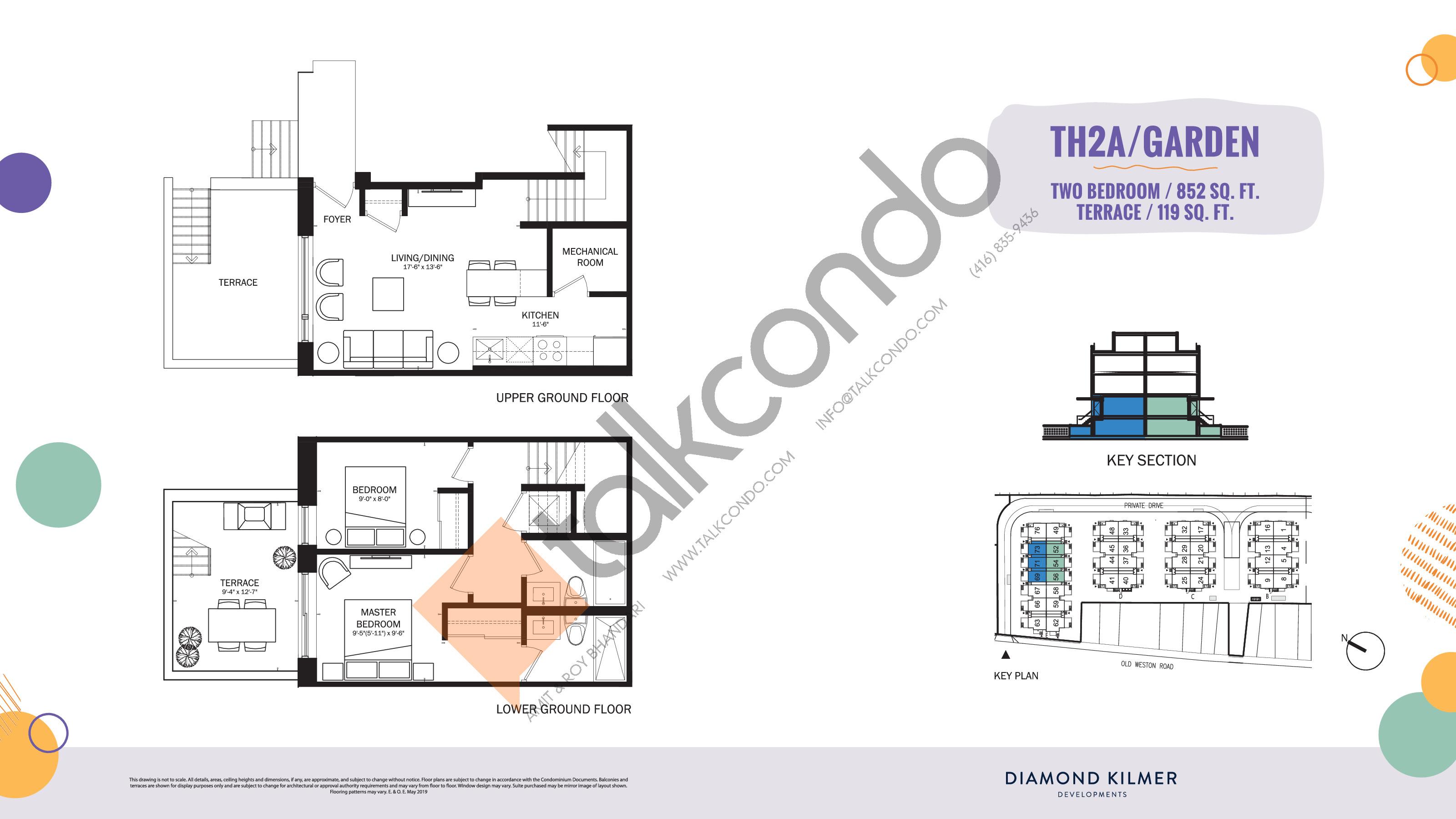 TH2A/Garden Floor Plan at Reunion Crossing Condos & Urban Towns - 852 sq.ft