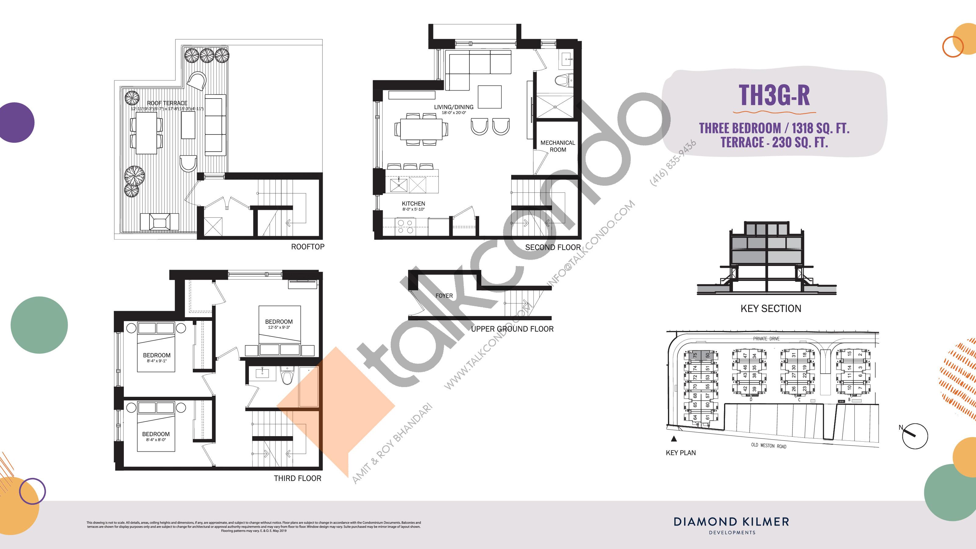 TH3G-R Floor Plan at Reunion Crossing Condos & Urban Towns - 1318 sq.ft