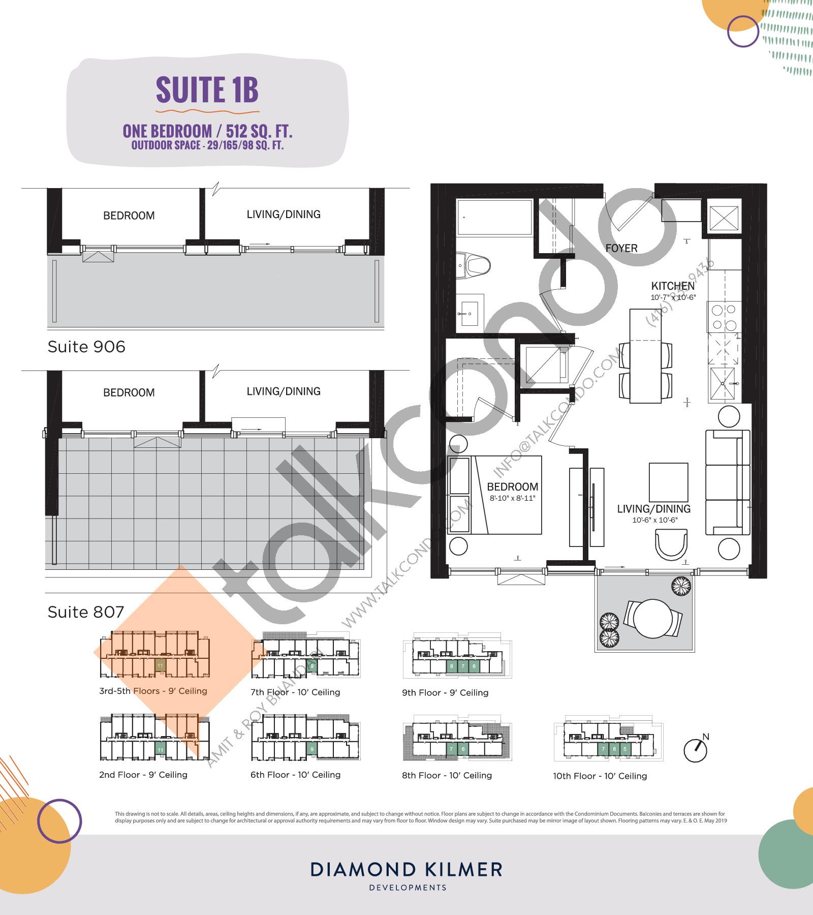 1B Floor Plan at Reunion Crossing Condos & Urban Towns - 512 sq.ft