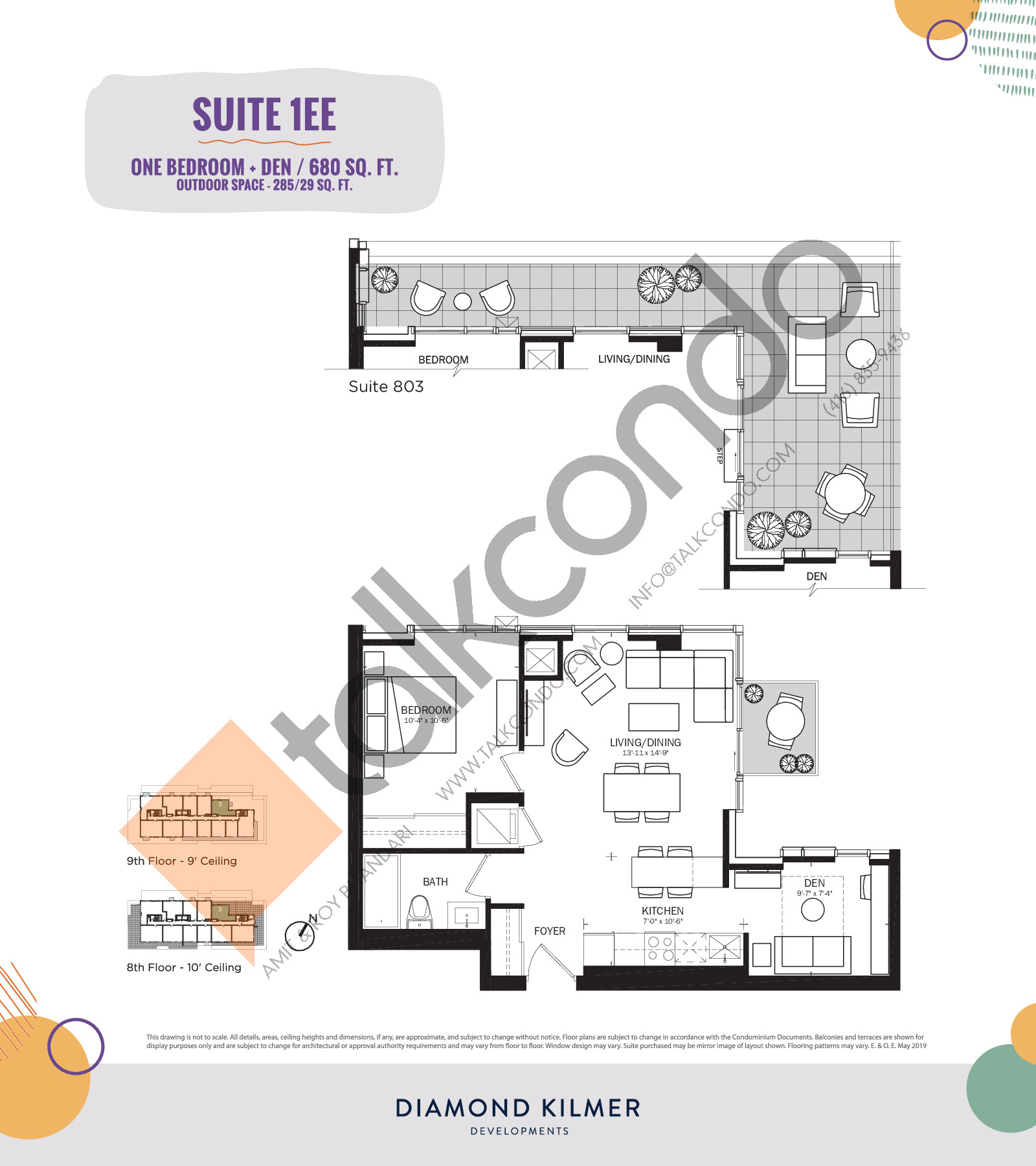 1EE Floor Plan at Reunion Crossing Condos & Urban Towns - 680 sq.ft