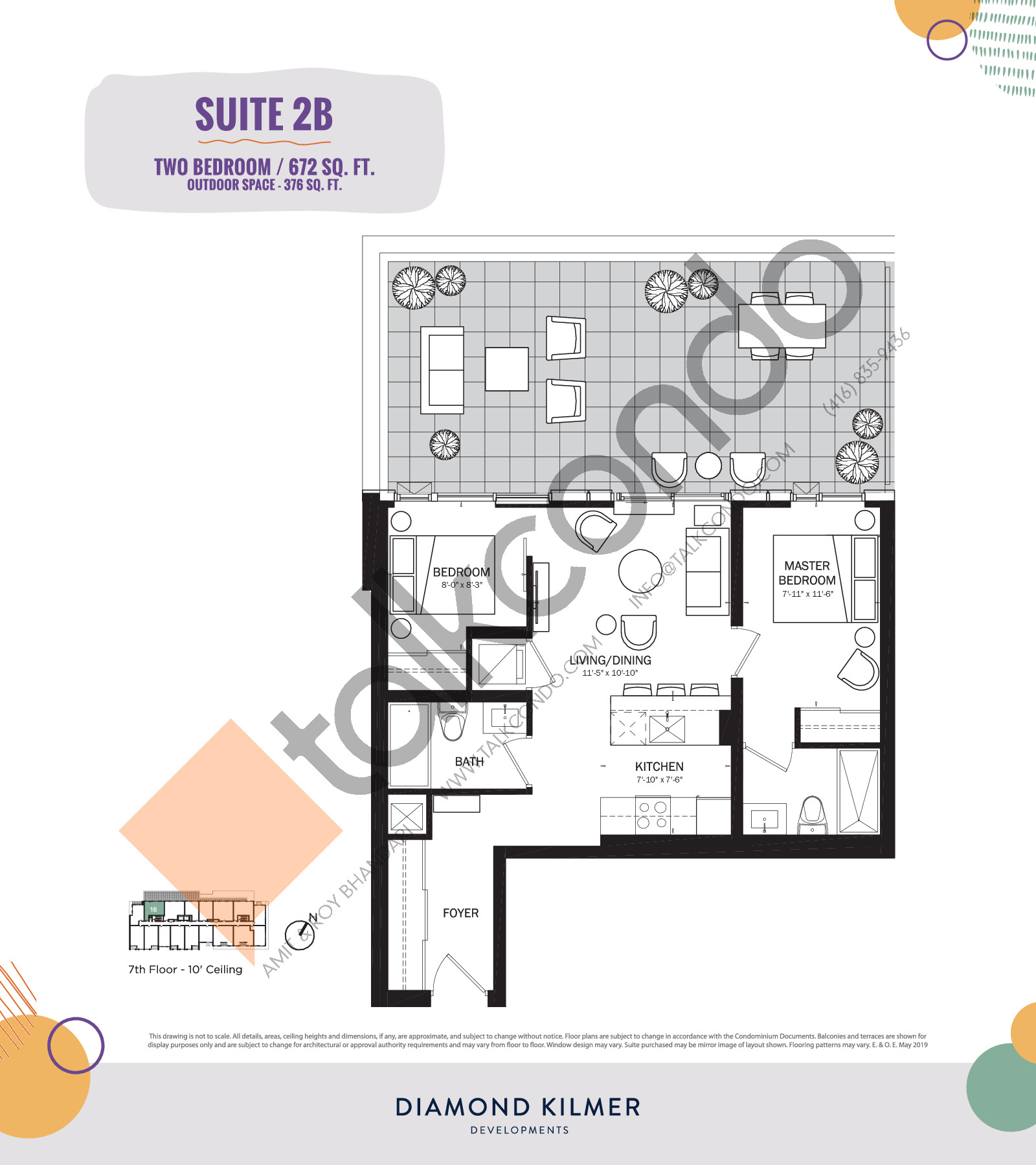2B Floor Plan at Reunion Crossing Condos & Urban Towns - 672 sq.ft