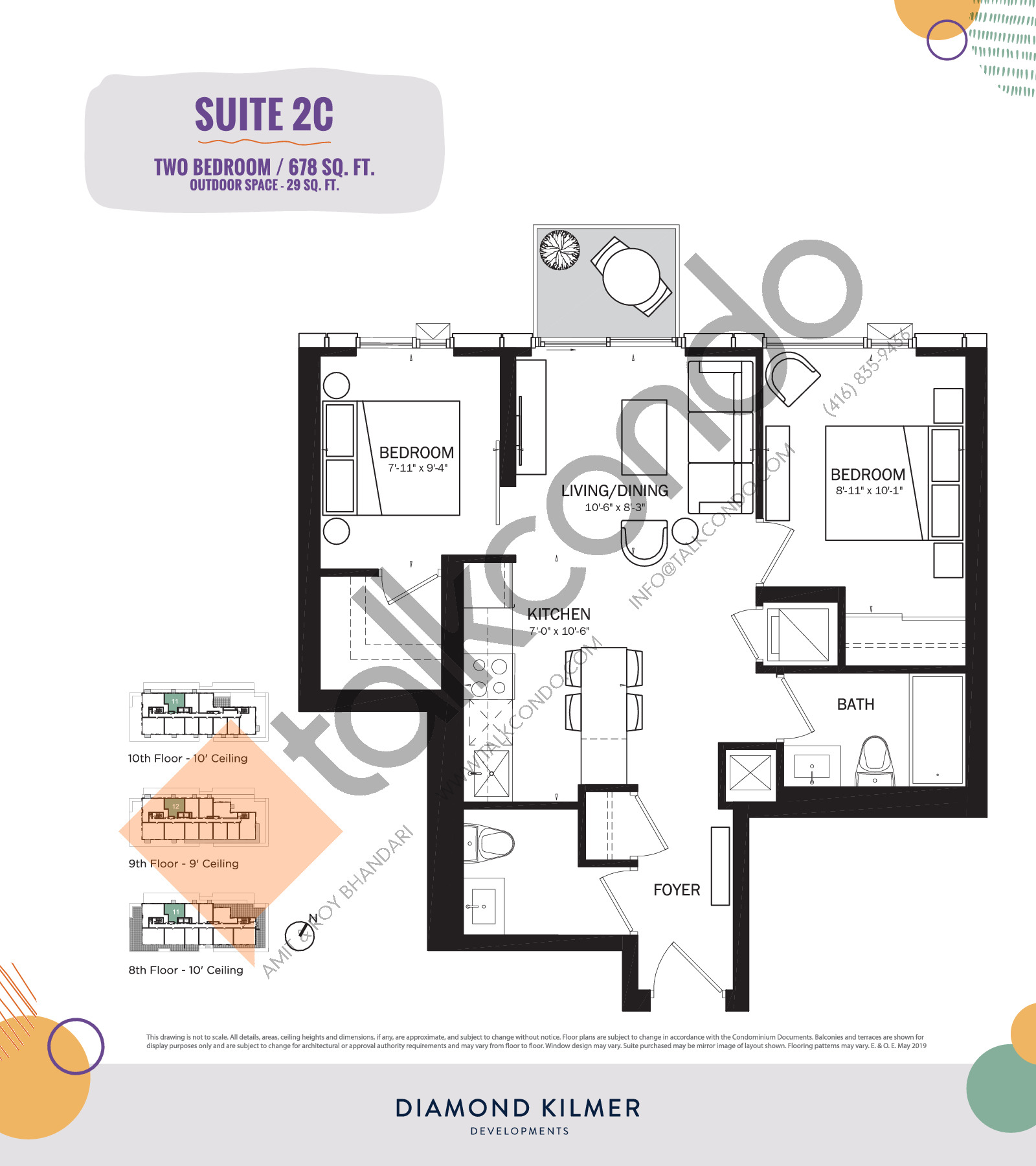 2C Floor Plan at Reunion Crossing Condos & Urban Towns - 678 sq.ft