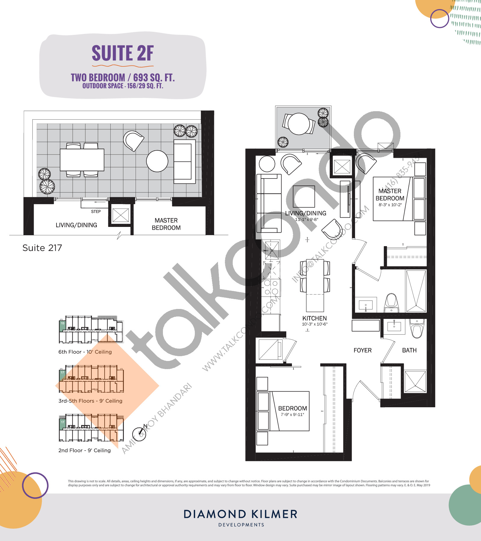 2F Floor Plan at Reunion Crossing Condos & Urban Towns - 693 sq.ft