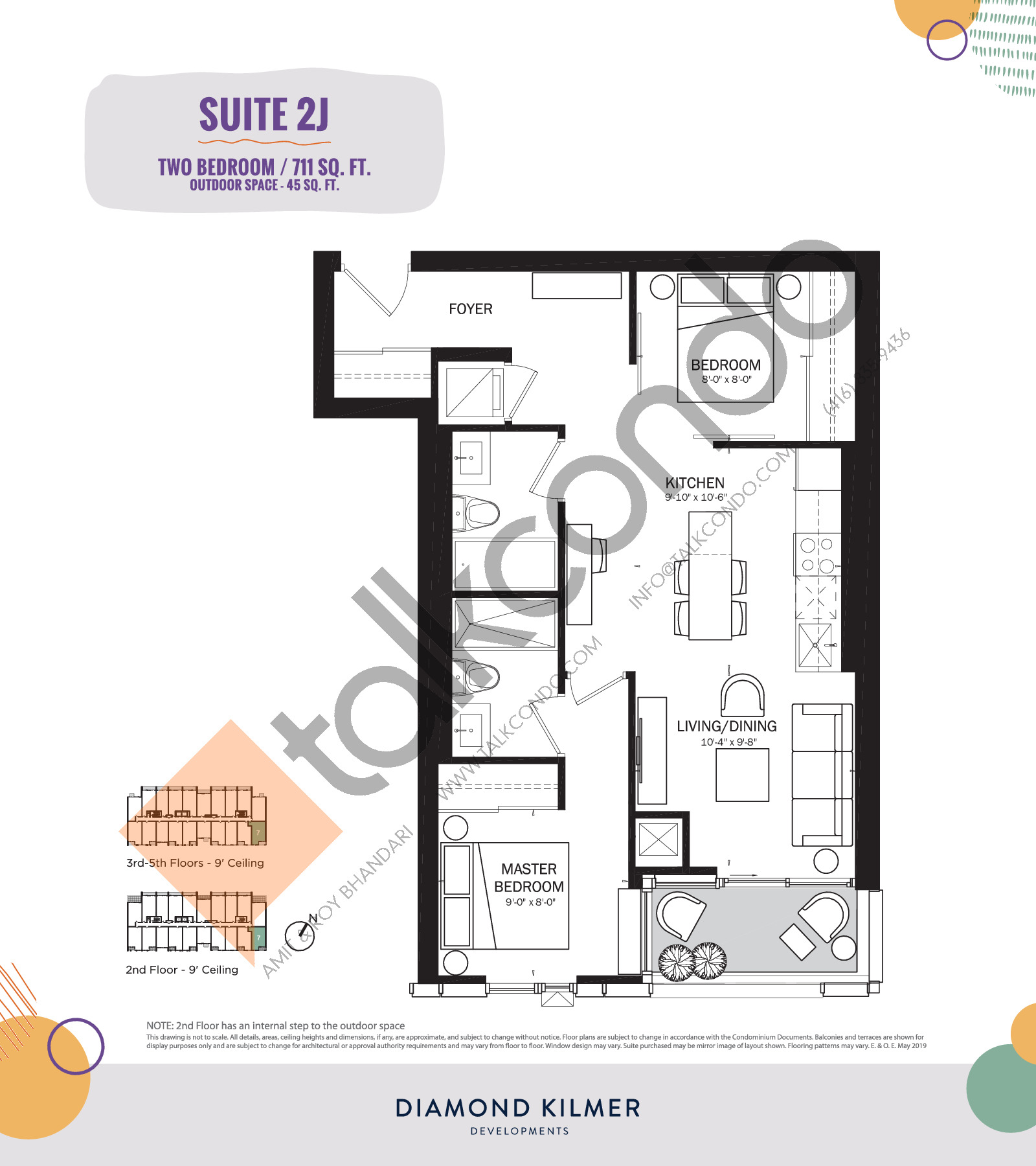 2J Floor Plan at Reunion Crossing Condos & Urban Towns - 711 sq.ft