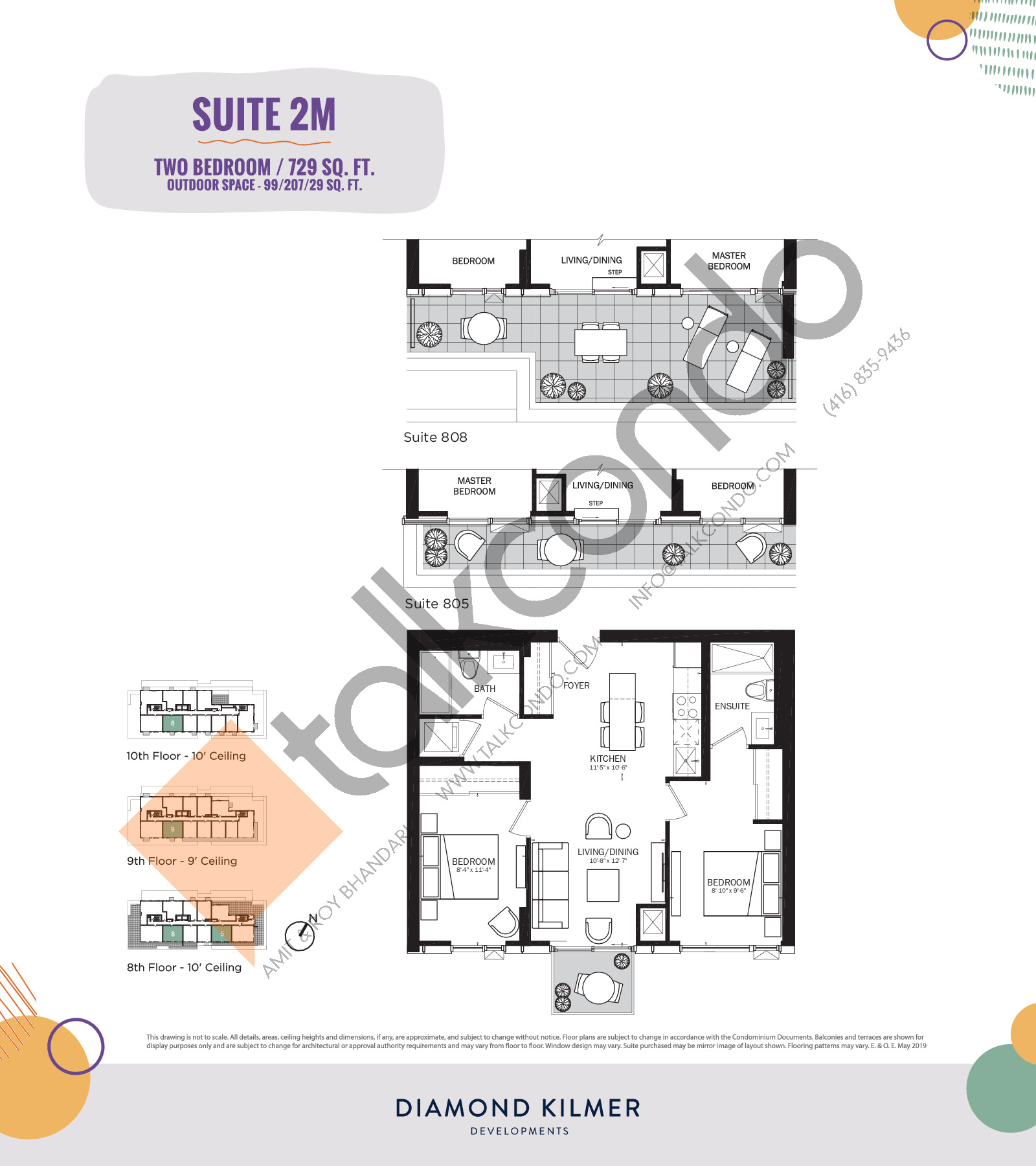 2M Floor Plan at Reunion Crossing Condos & Urban Towns - 729 sq.ft
