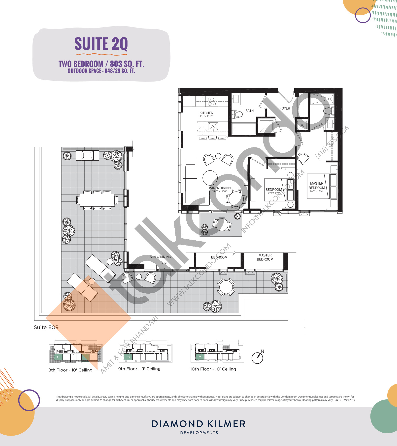 2Q Floor Plan at Reunion Crossing Condos & Urban Towns - 803 sq.ft