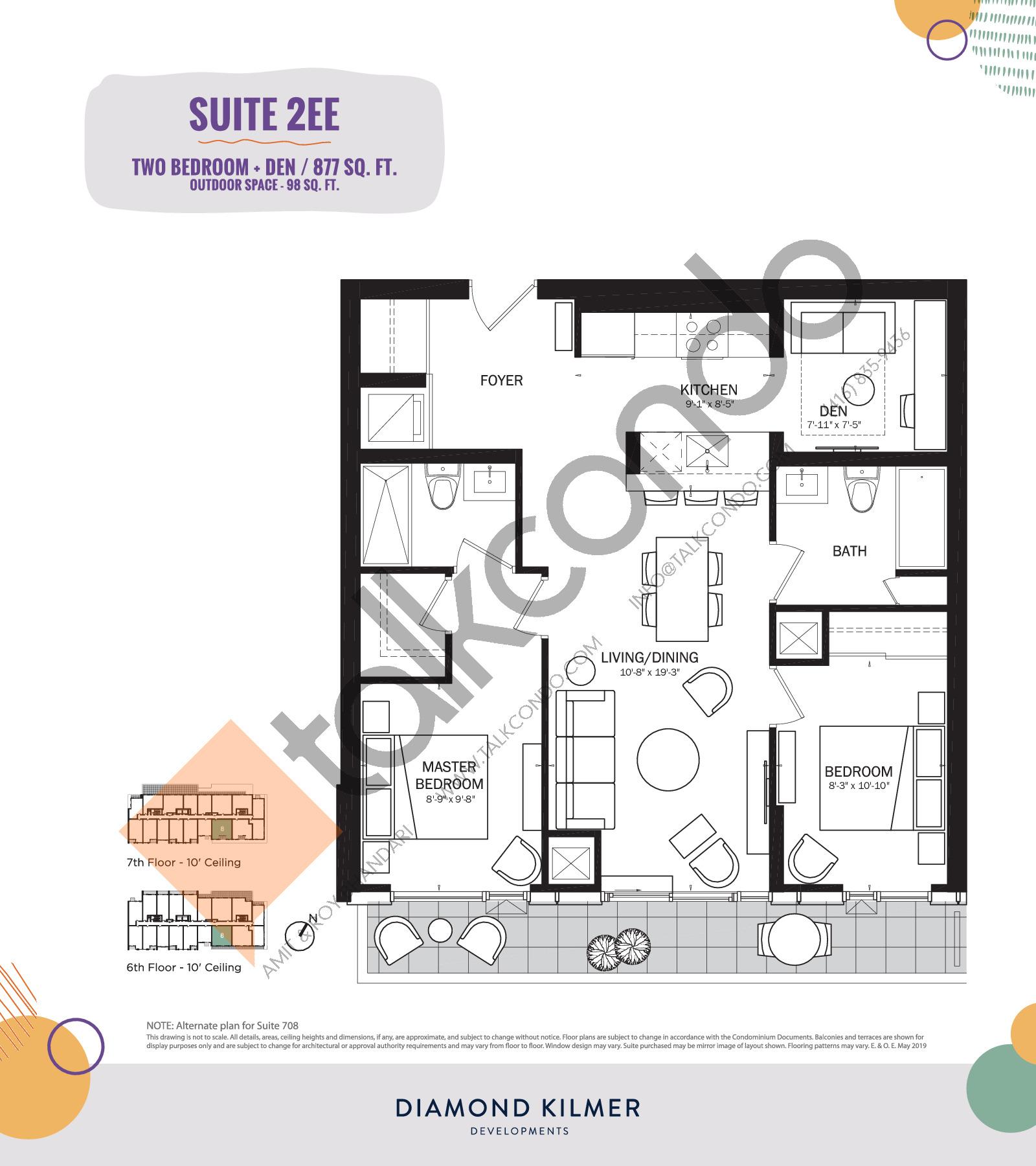 2EE Floor Plan at Reunion Crossing Condos & Urban Towns - 877 sq.ft