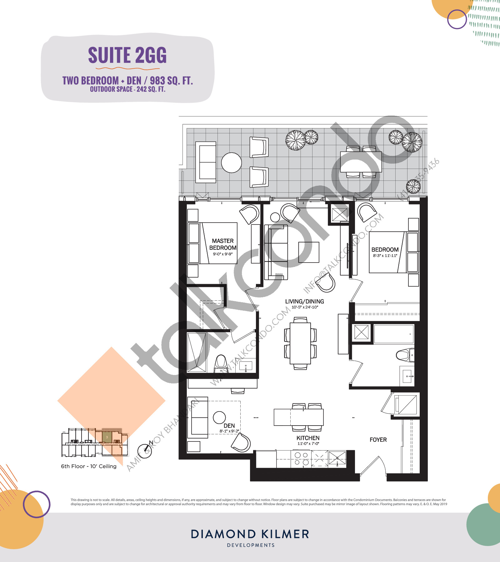 2GG Floor Plan at Reunion Crossing Condos & Urban Towns - 983 sq.ft