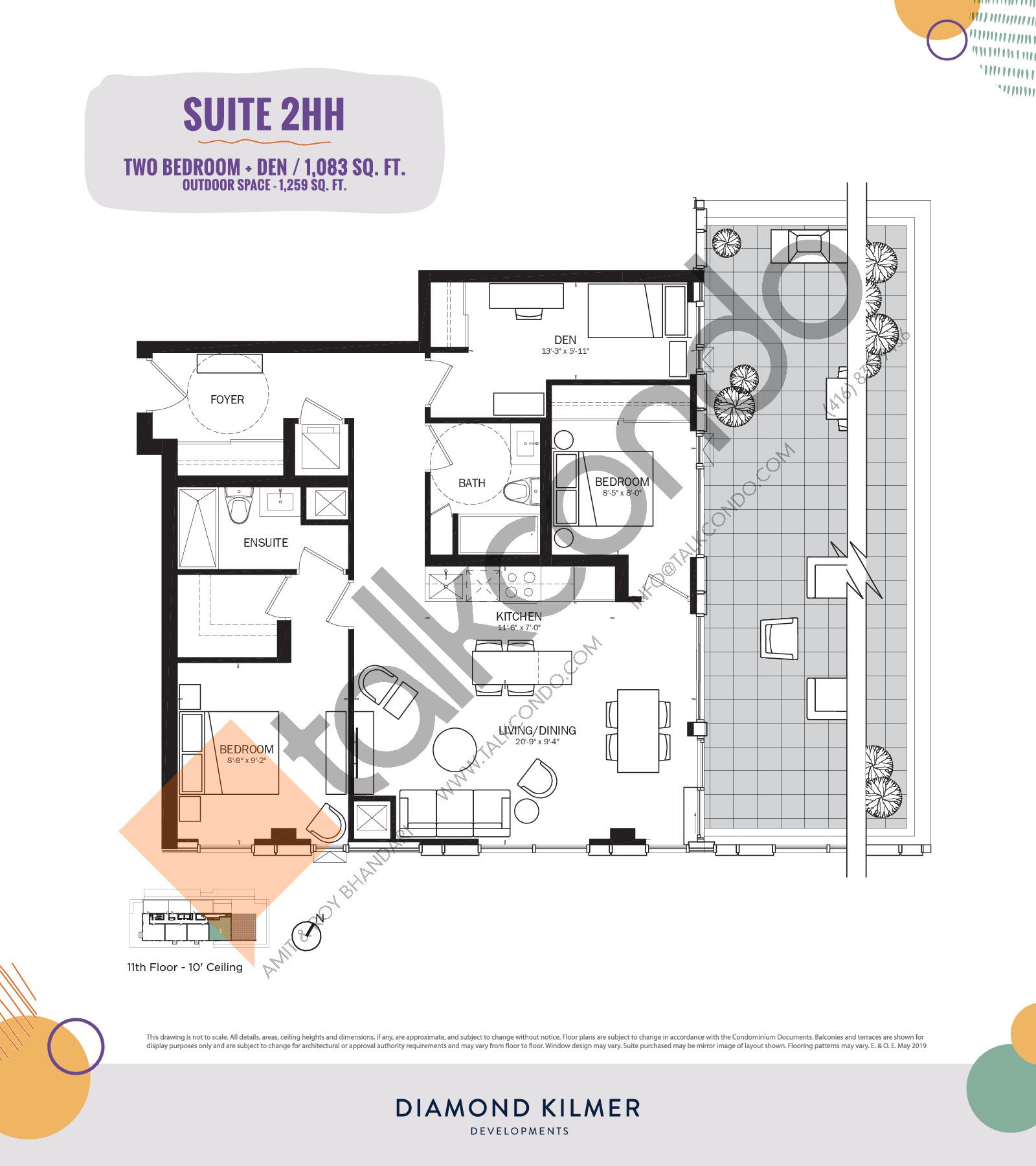 2HH Floor Plan at Reunion Crossing Condos & Urban Towns - 1083 sq.ft