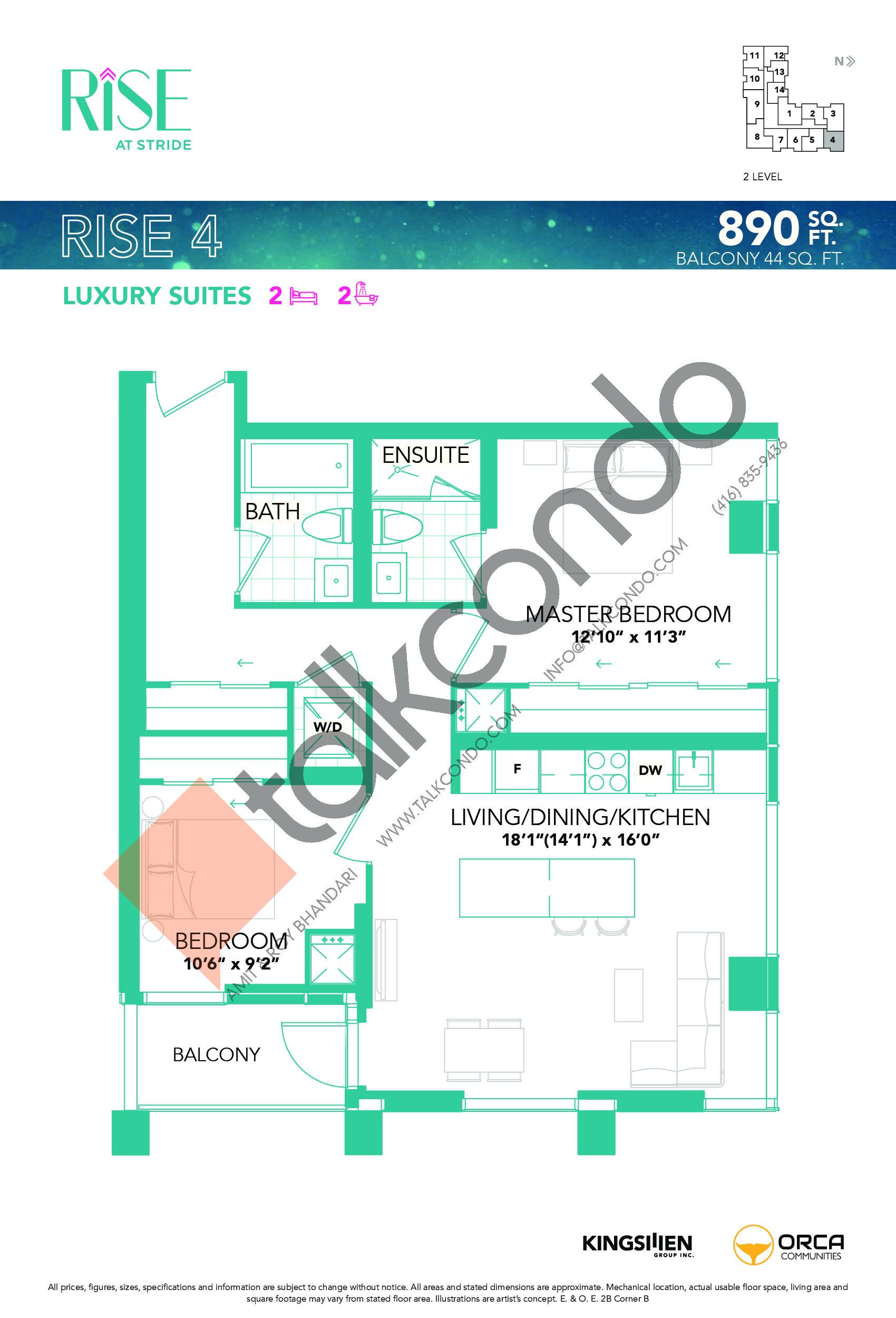 Rise 4 Floor Plan at Rise at Stride Condos - 890 sq.ft