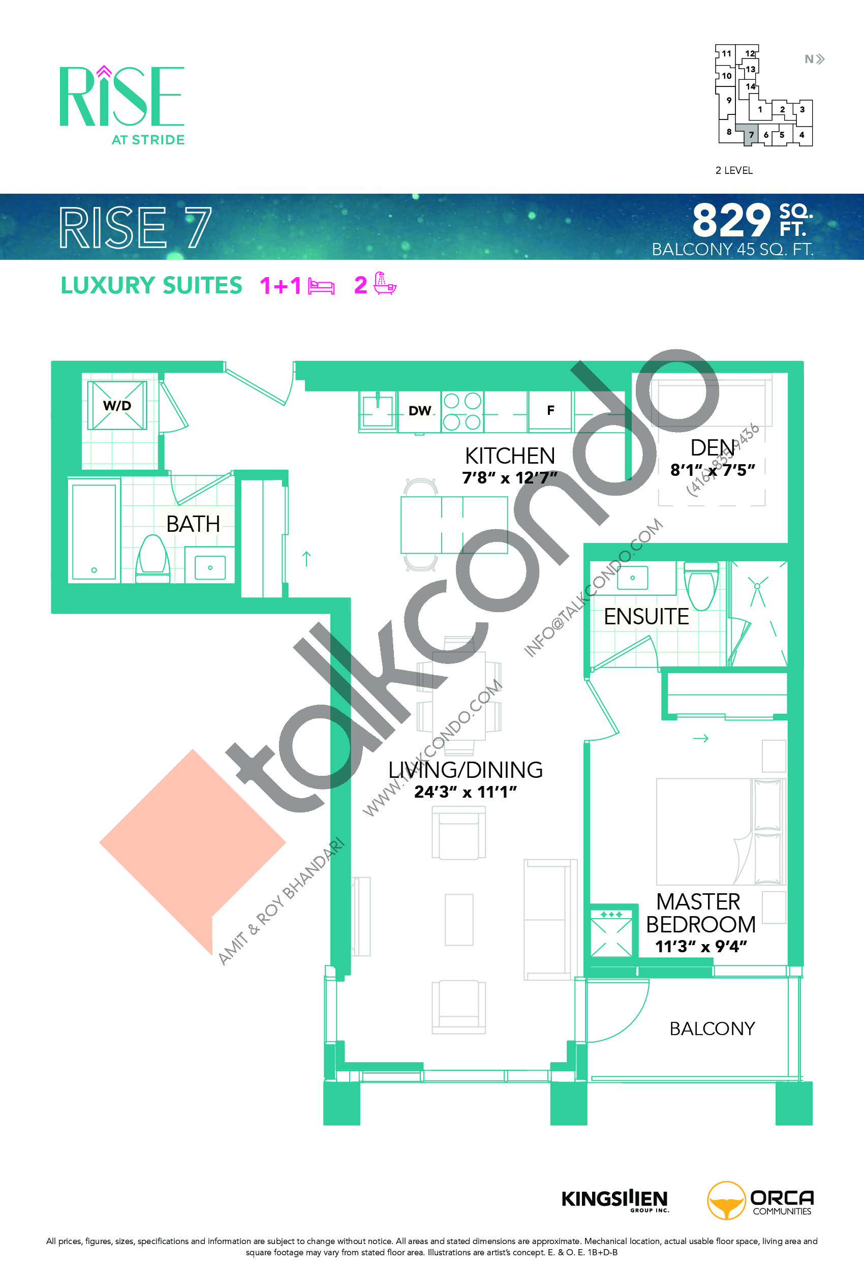 Rise 7 Floor Plan at Rise at Stride Condos - 829 sq.ft