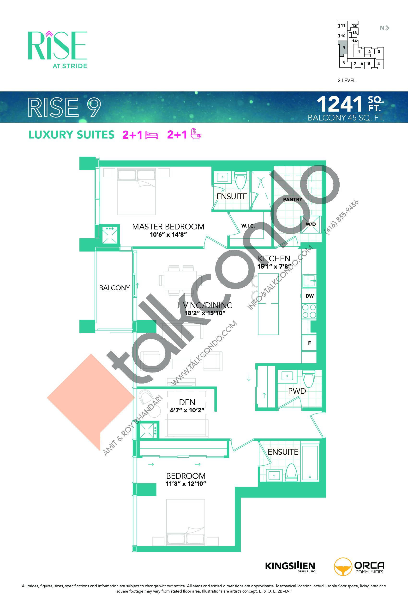 Rise 9 Floor Plan at Rise at Stride Condos - 1241 sq.ft