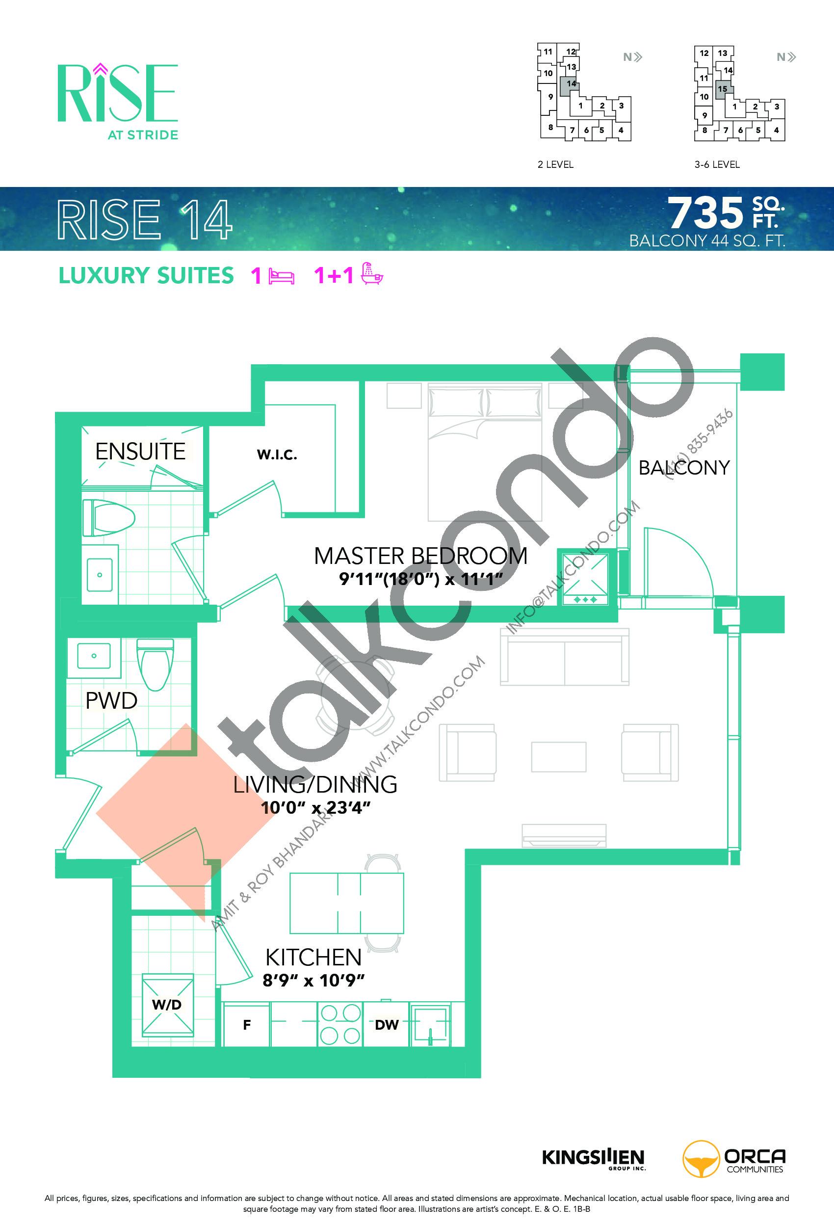 Rise 14 Floor Plan at Rise at Stride Condos - 735 sq.ft