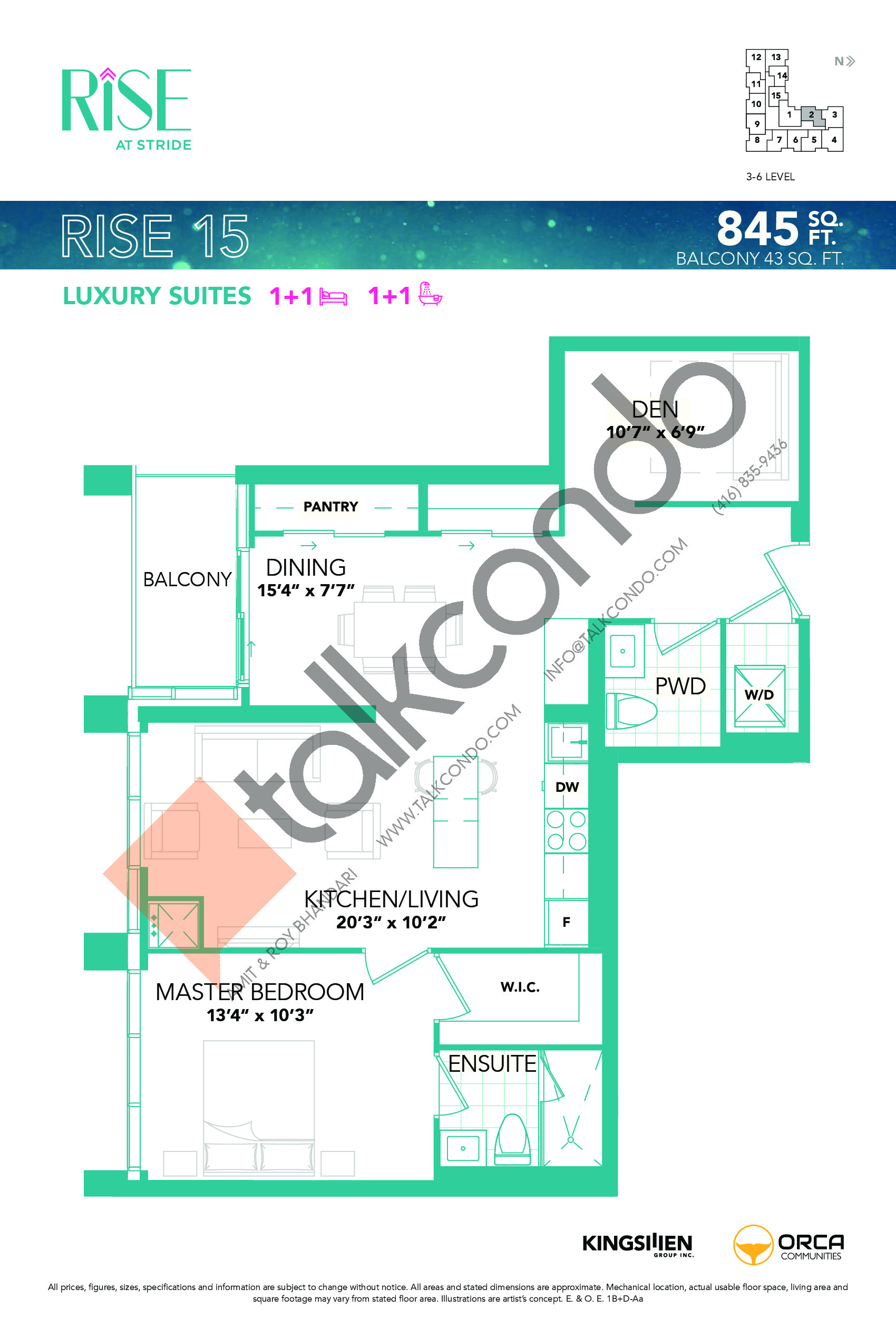 Rise 15 Floor Plan at Rise at Stride Condos - 845 sq.ft