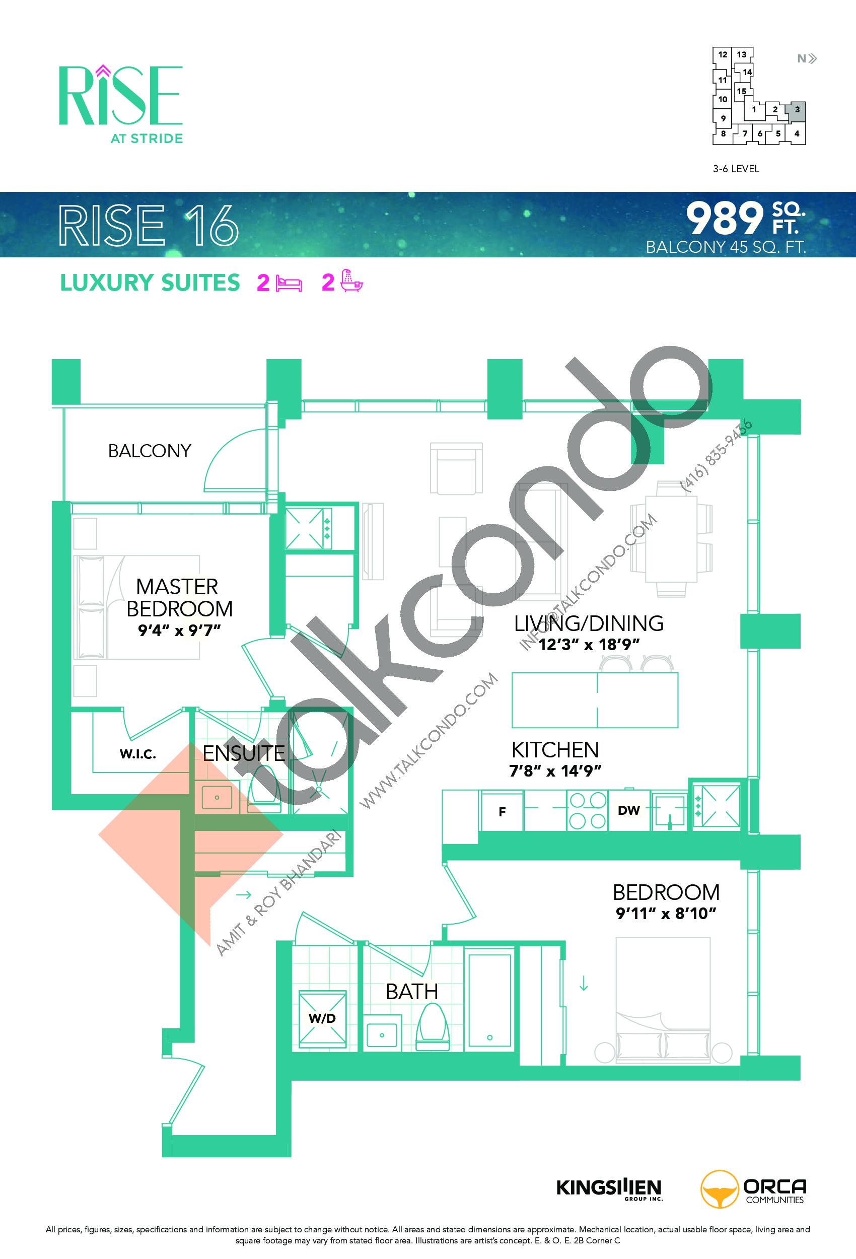 Rise 16 Floor Plan at Rise at Stride Condos - 989 sq.ft