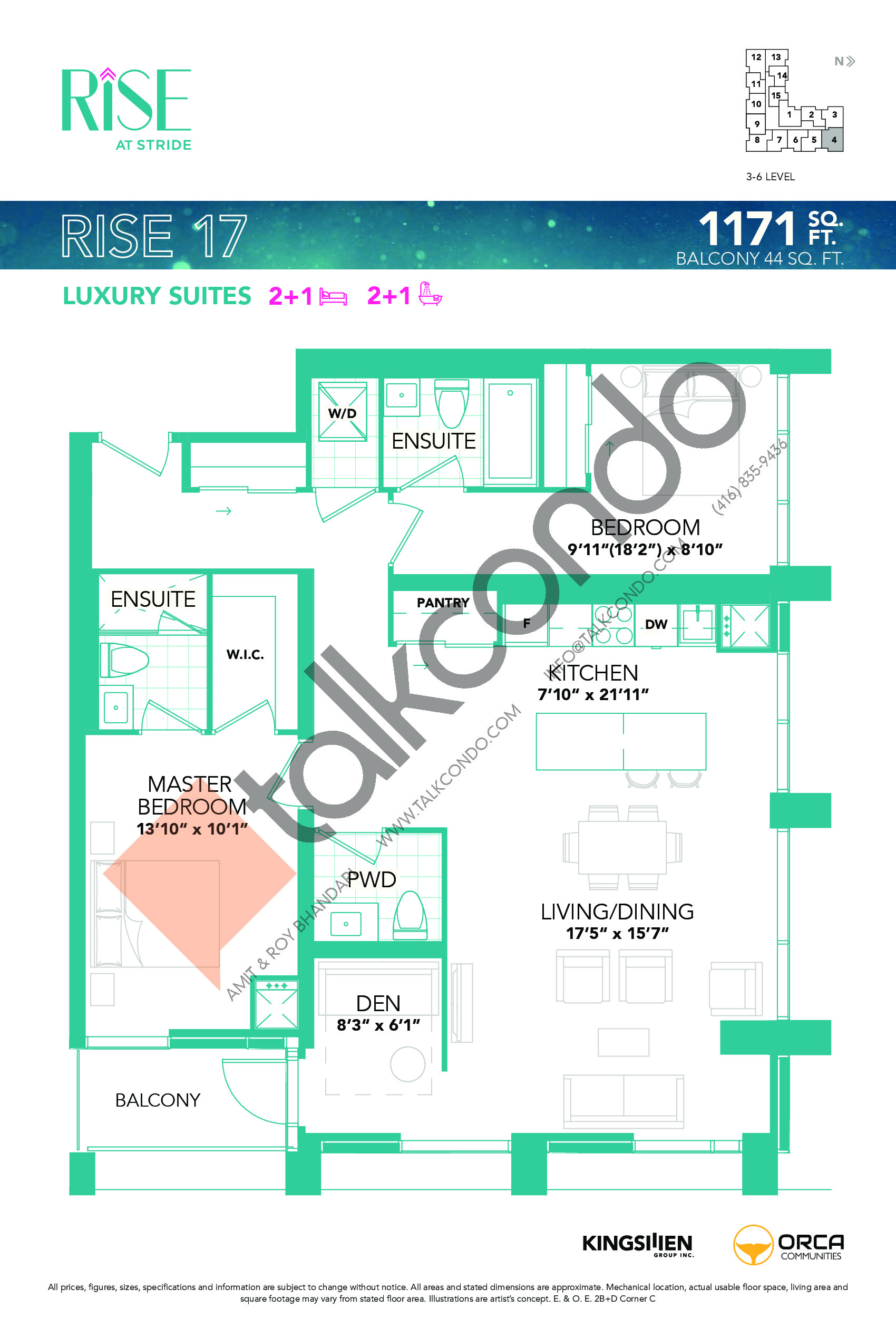Rise 17 Floor Plan at Rise at Stride Condos - 1171 sq.ft