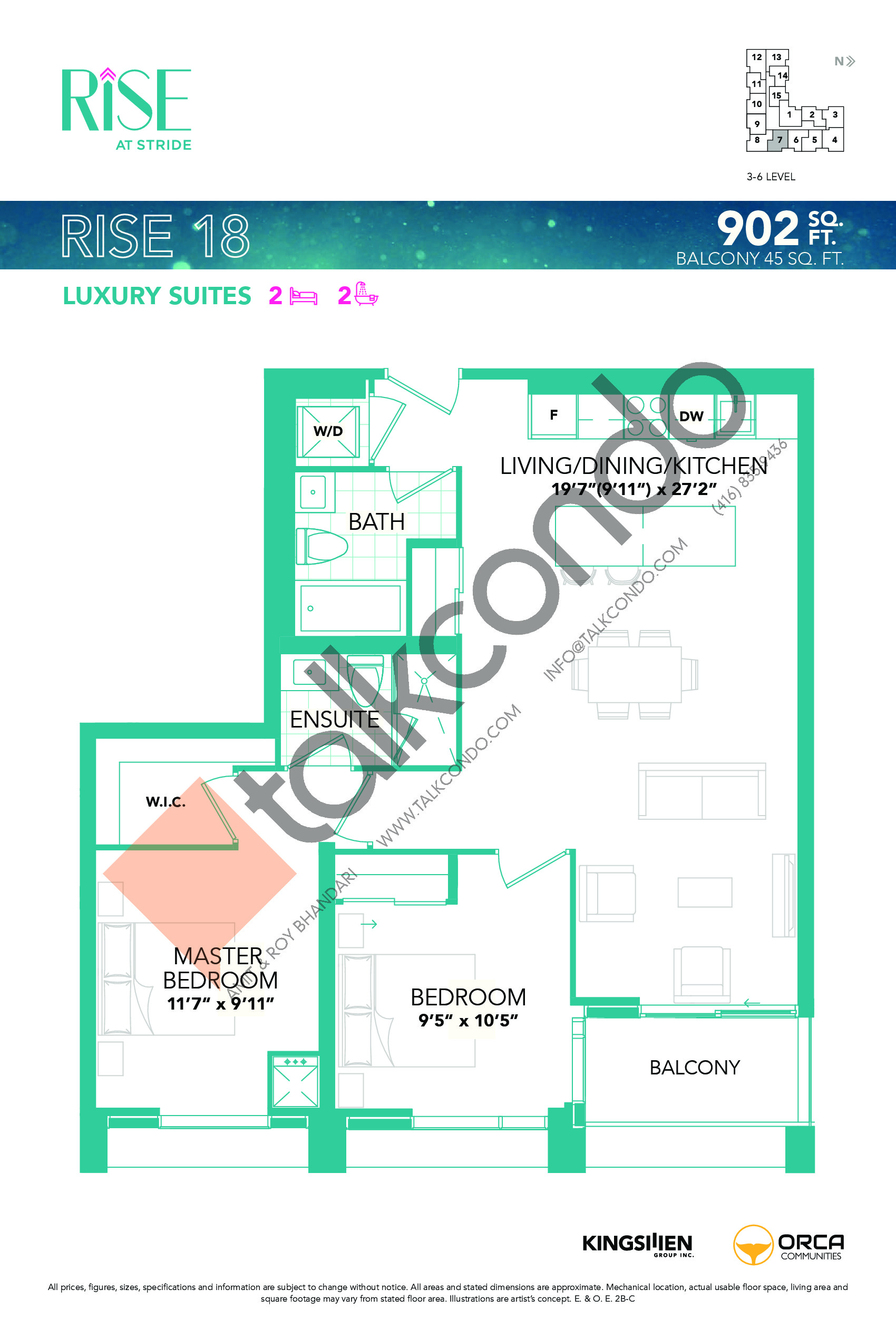 Rise 18 Floor Plan at Rise at Stride Condos - 902 sq.ft