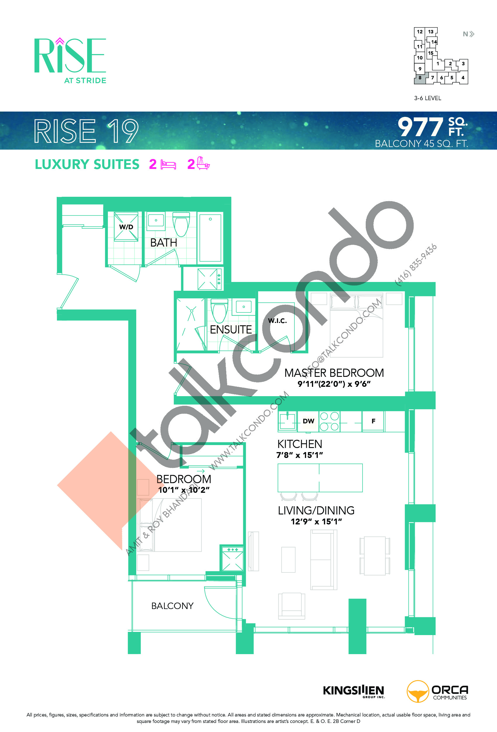 Rise 19 Floor Plan at Rise at Stride Condos - 977 sq.ft