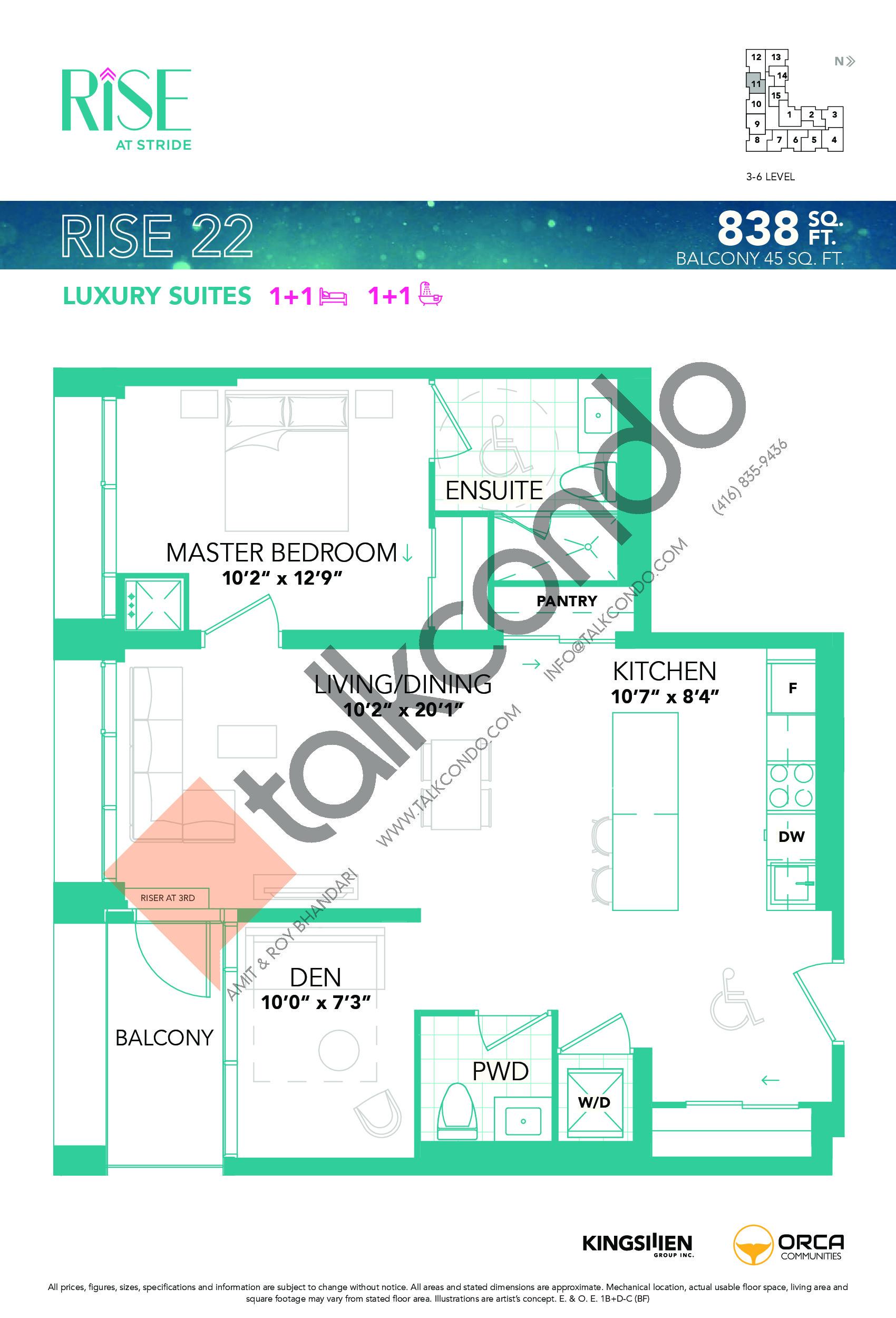 Rise 22 Floor Plan at Rise at Stride Condos - 838 sq.ft