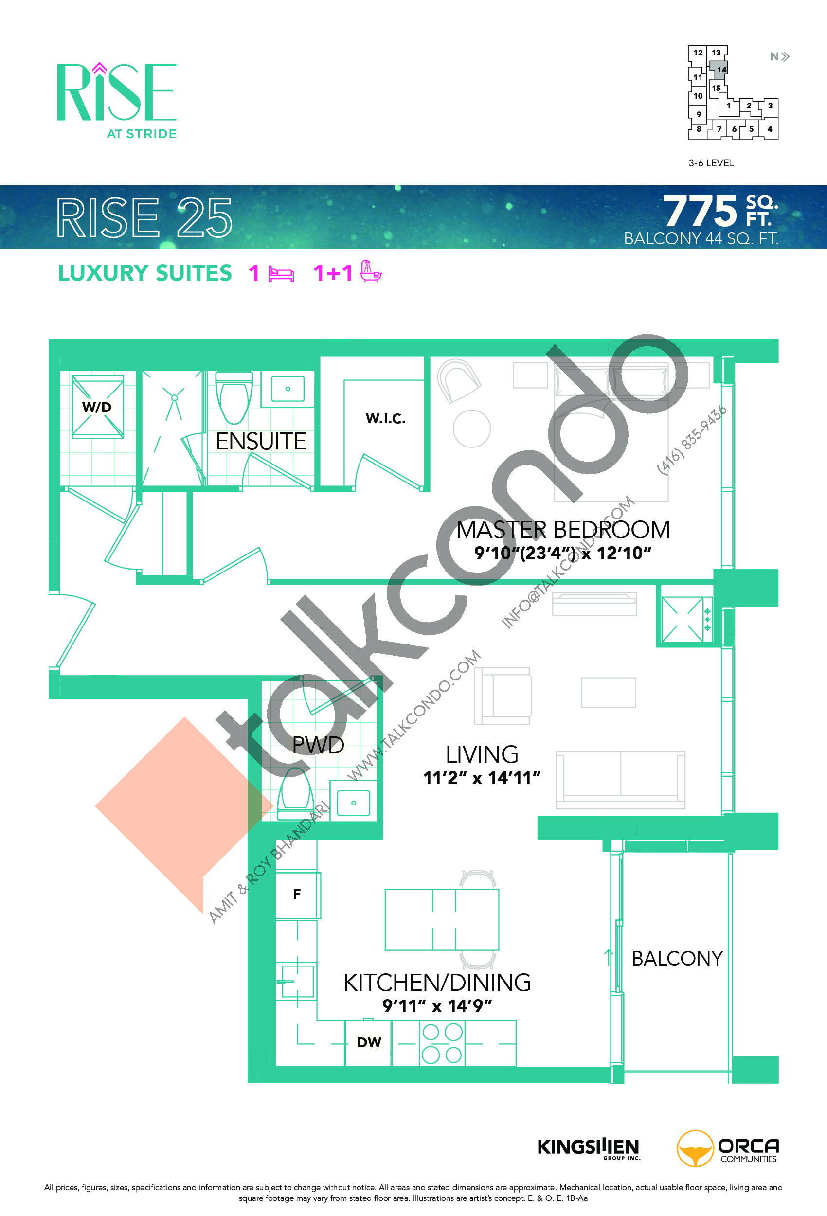 Rise 25 Floor Plan at Rise at Stride Condos - 775 sq.ft