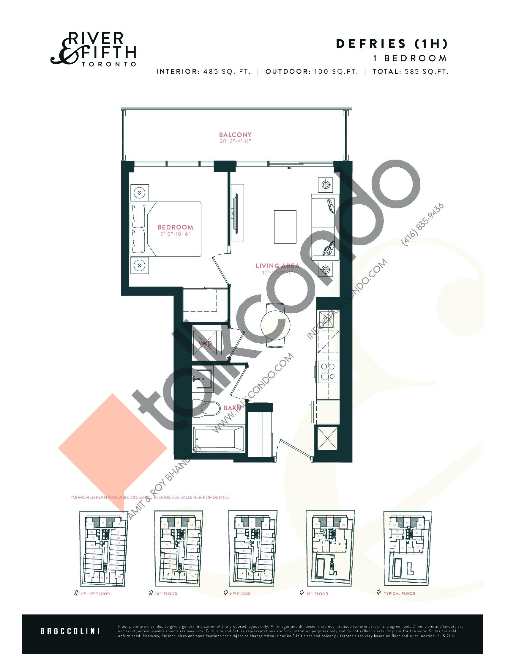 Defries (1H) Floor Plan at River & Fifth Condos - 485 sq.ft