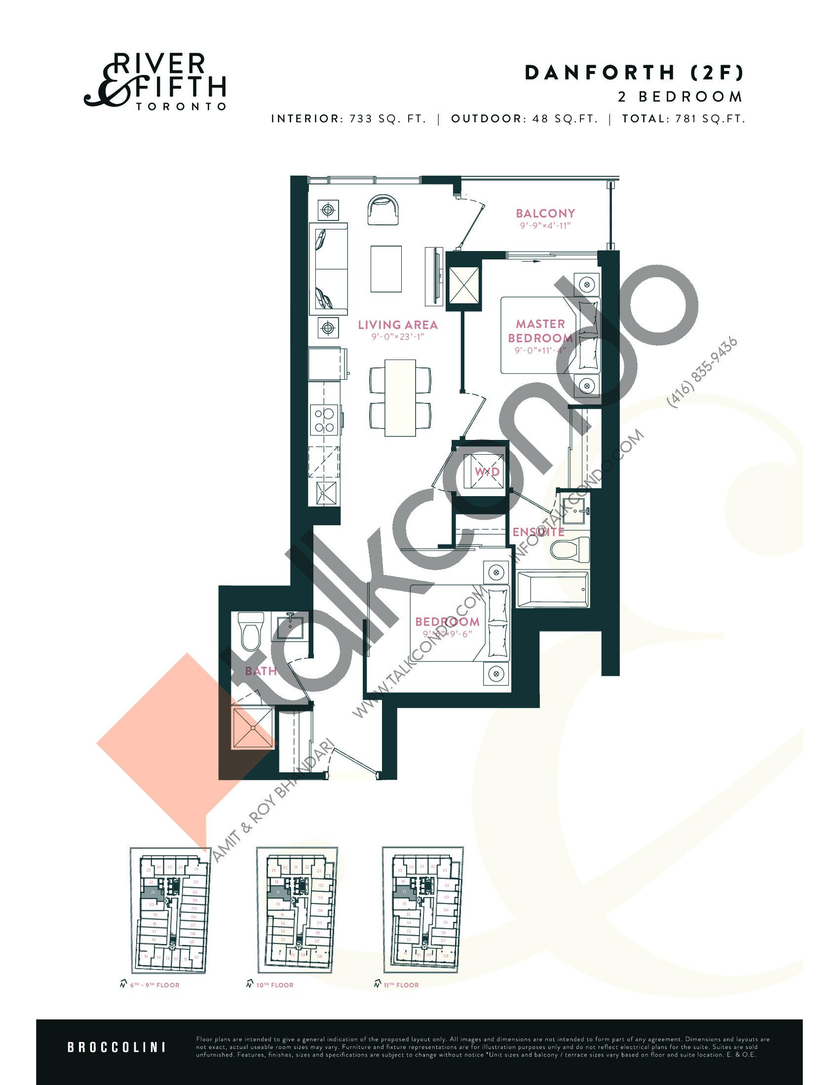 Danforth (2F) Floor Plan at River & Fifth Condos - 733 sq.ft