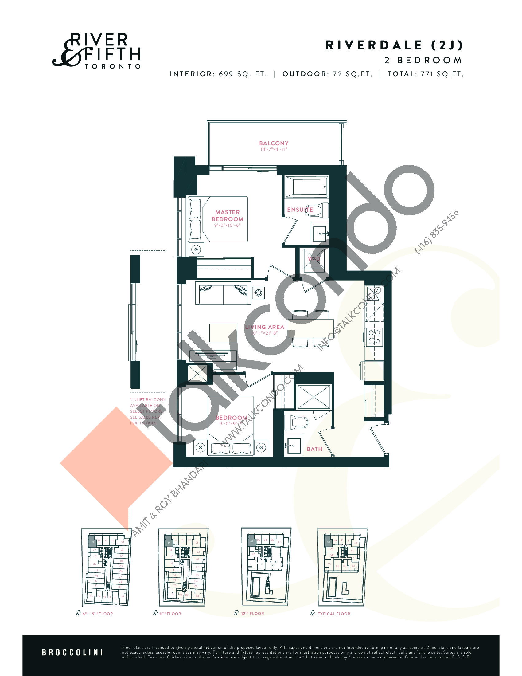 Riverdale (2J) Floor Plan at River & Fifth Condos - 699 sq.ft