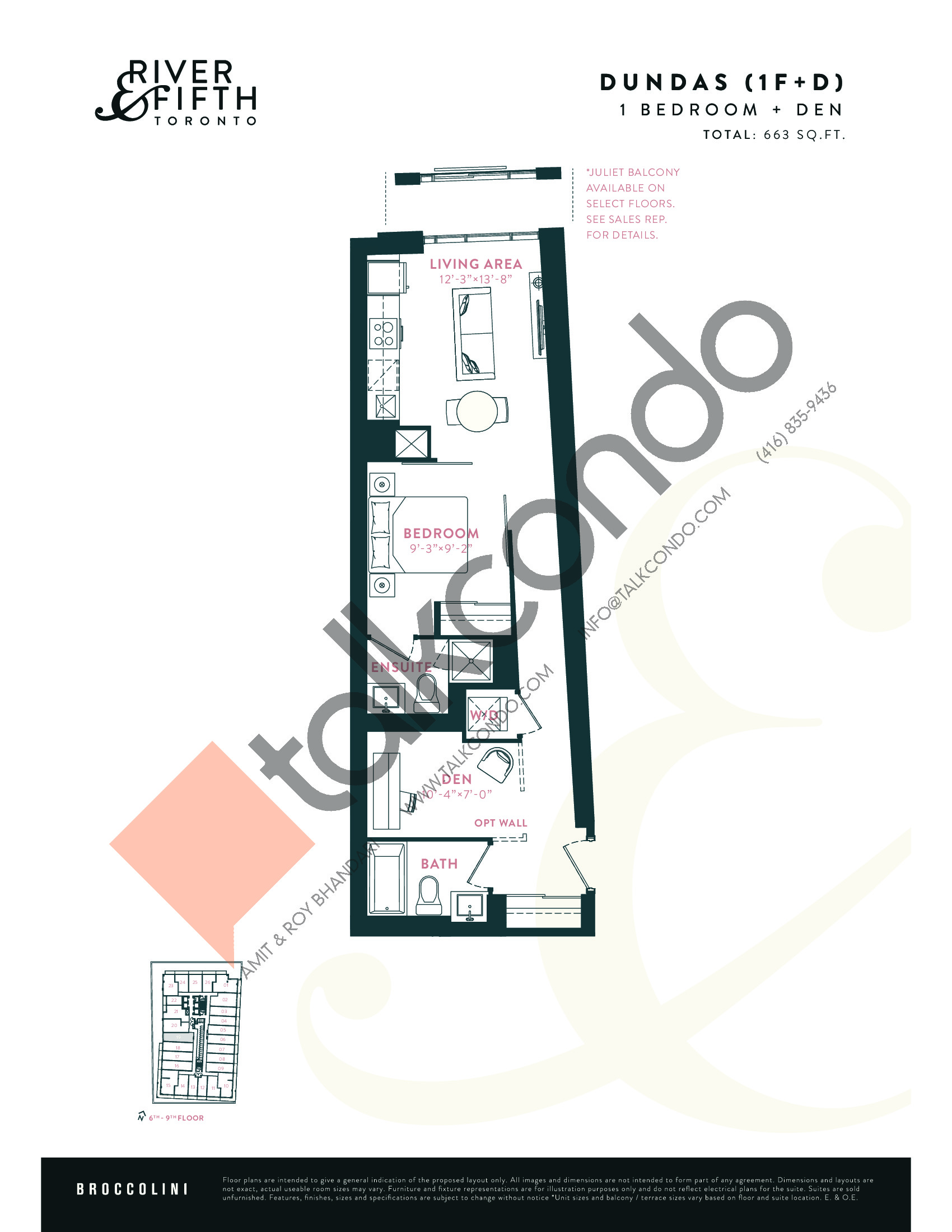 Dundas (1F+D) Floor Plan at River & Fifth Condos - 663 sq.ft