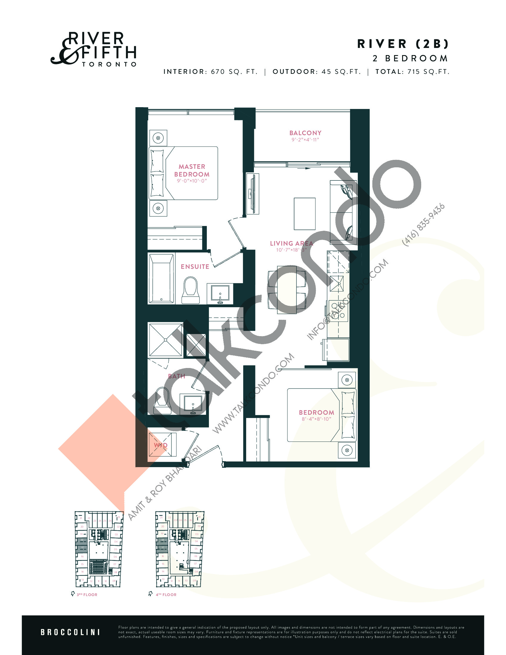 River (2B) Floor Plan at River & Fifth Condos - 670 sq.ft