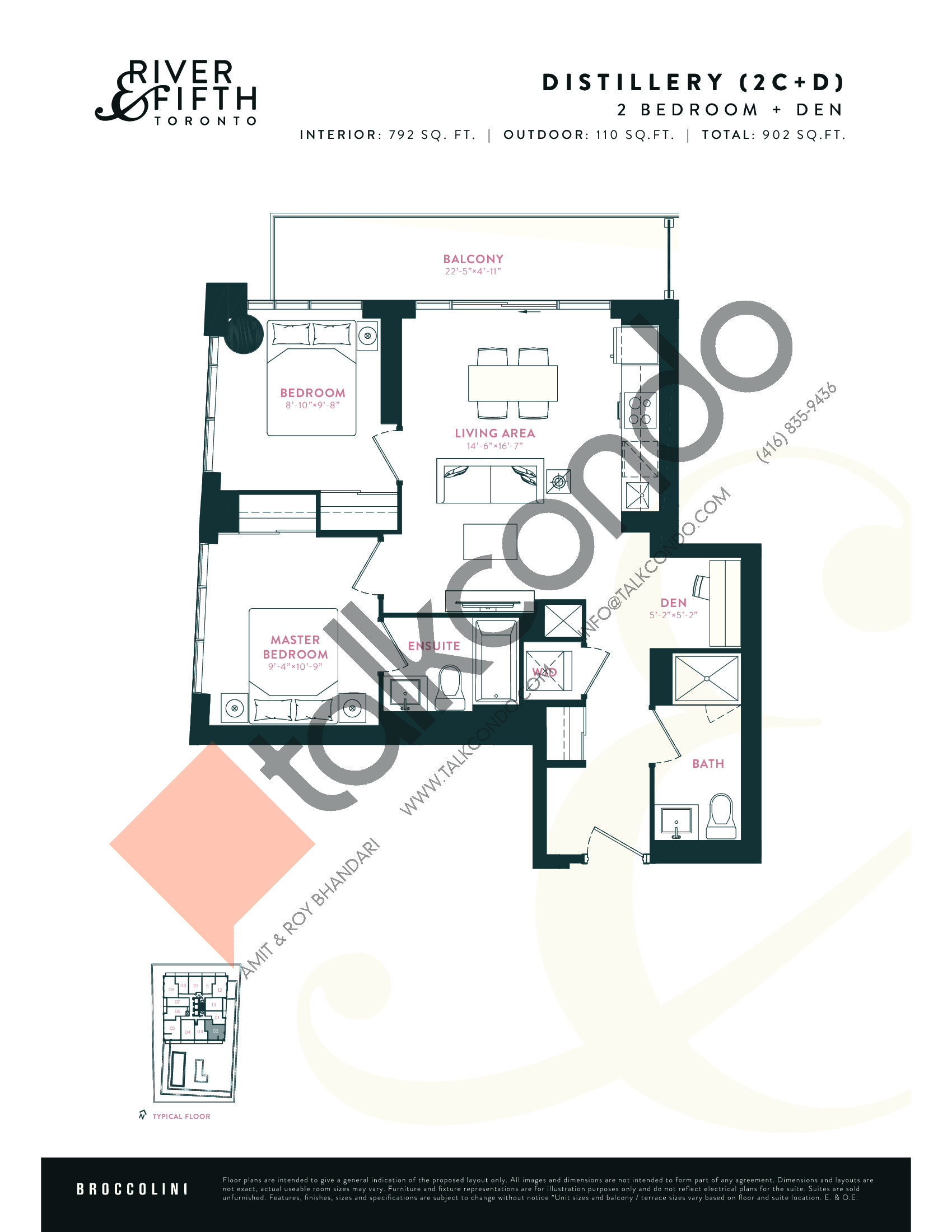 Distillery (2C+D) Floor Plan at River & Fifth Condos - 792 sq.ft