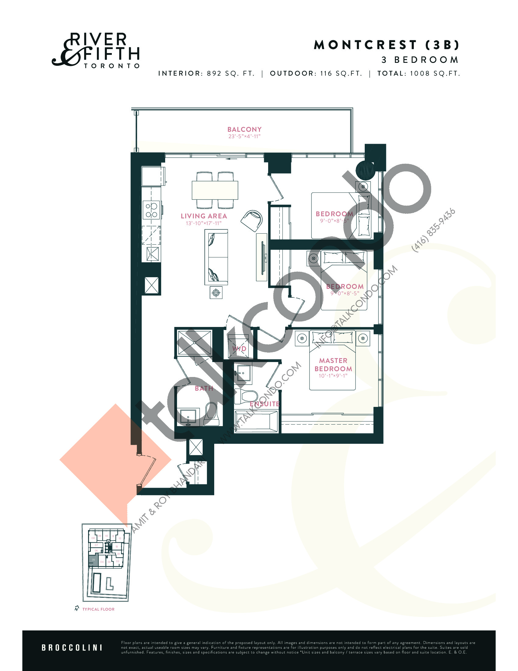 Montcrest (3B) Floor Plan at River & Fifth Condos - 892 sq.ft