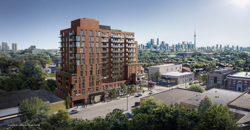 aerial shot of st clair village condos at 900 st clair west