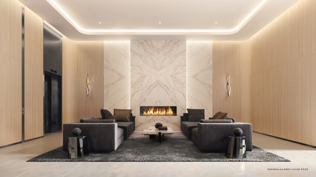 lobby rendering at st clair village condos at 900 st clair west