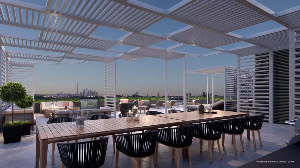 rooftop looking towards downtown toronto at st clair village condos at 900 st clair west