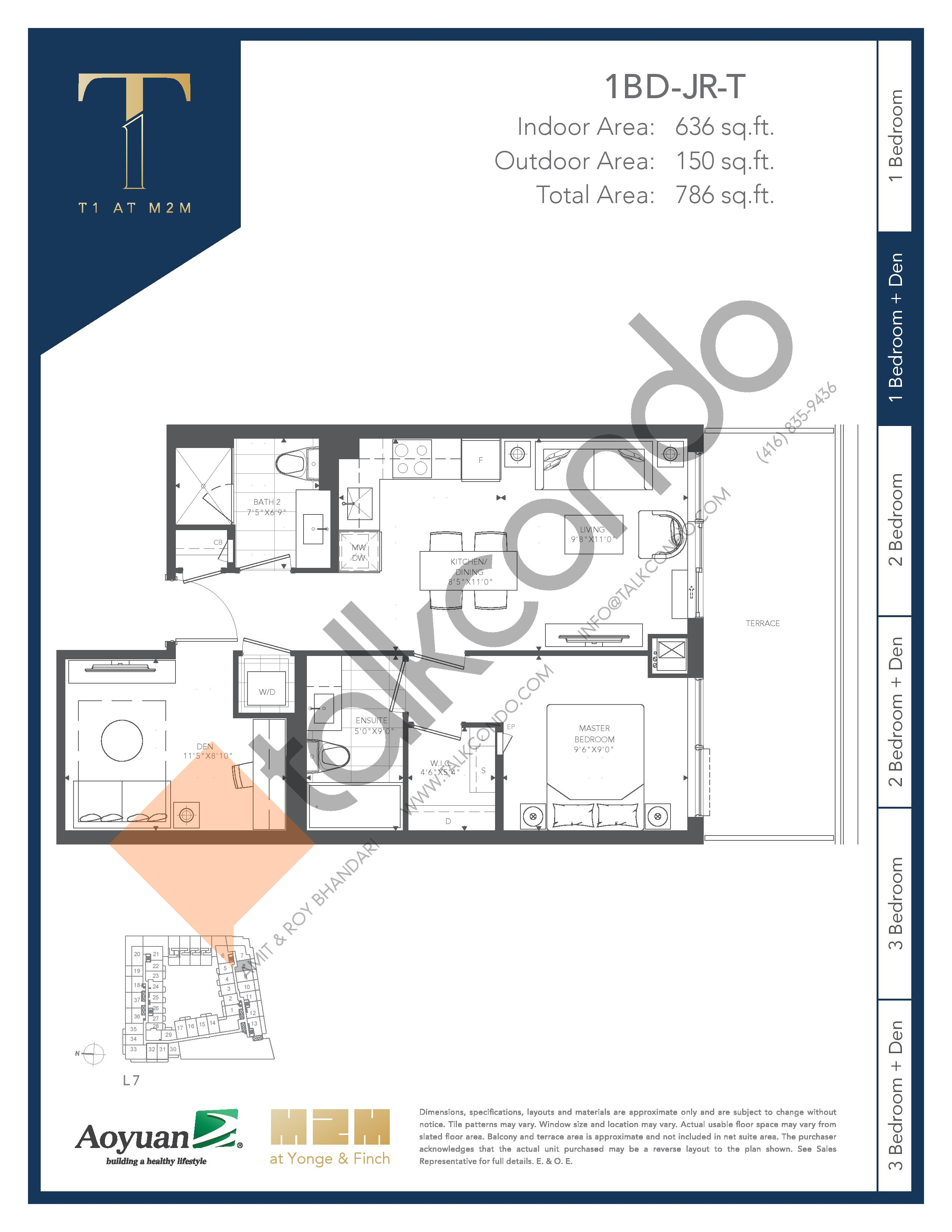 1BD-JR-T (Podium) Floor Plan at T1 at M2M Condos - 636 sq.ft