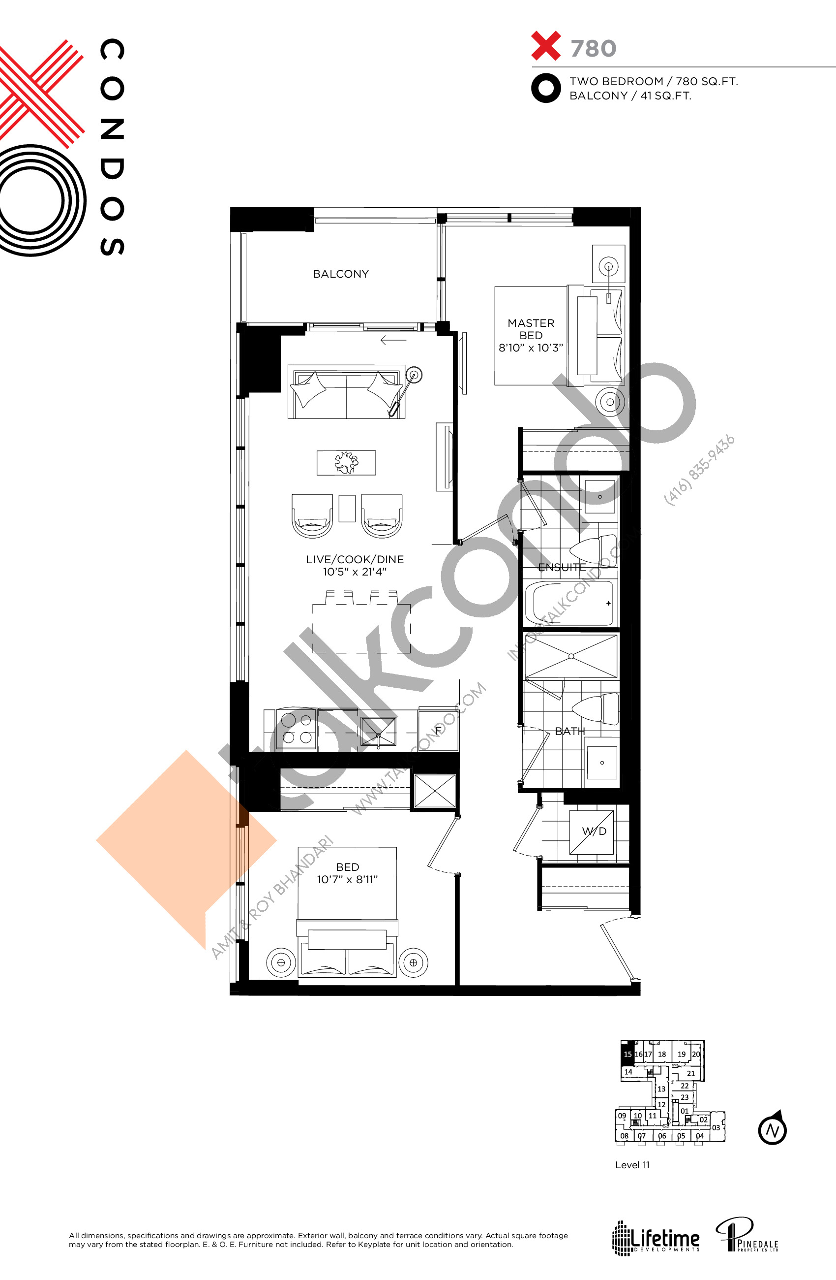 X780 Floor Plan at XO Condos - 780 sq.ft