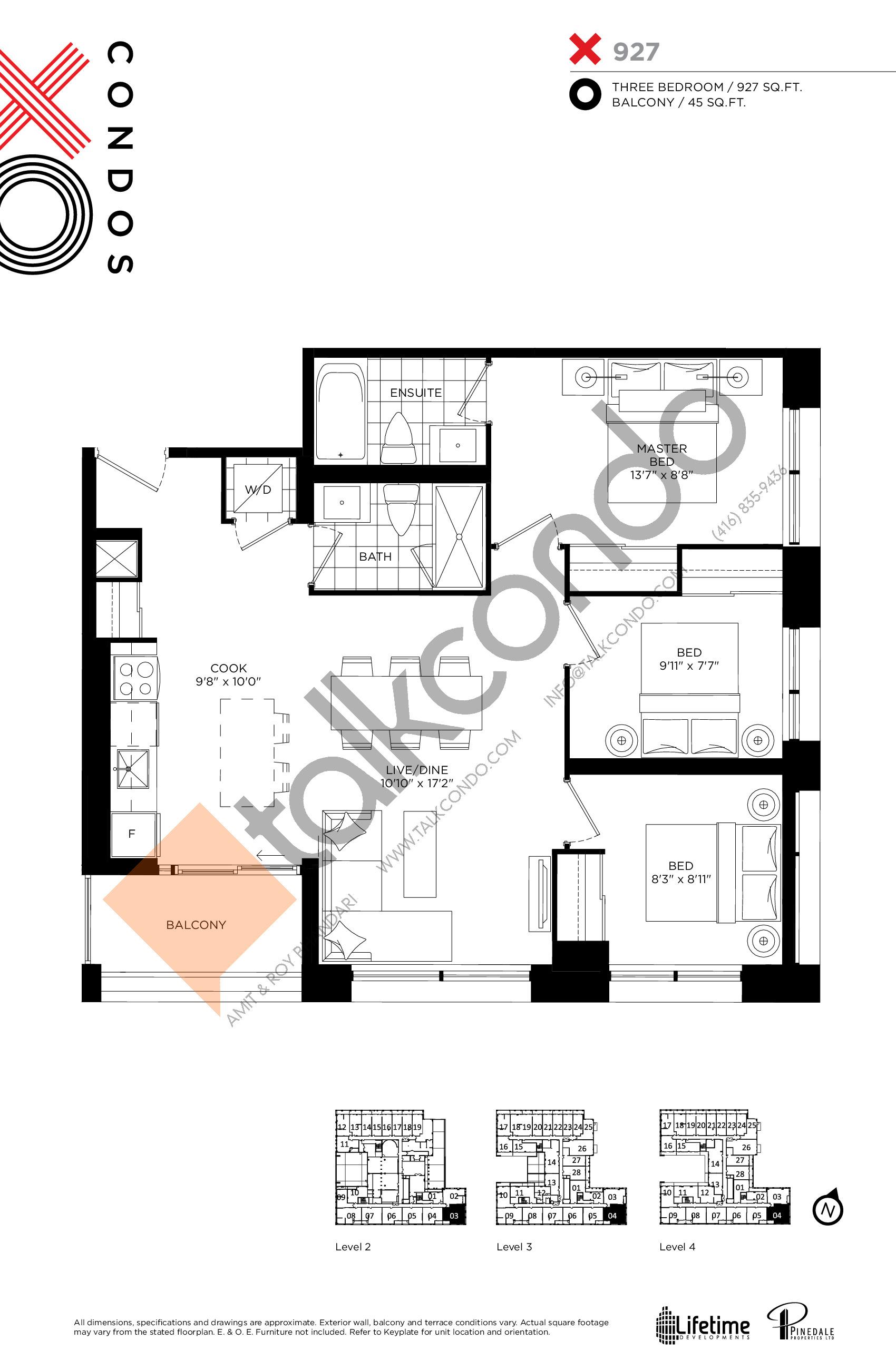 X927 Floor Plan at XO Condos - 927 sq.ft