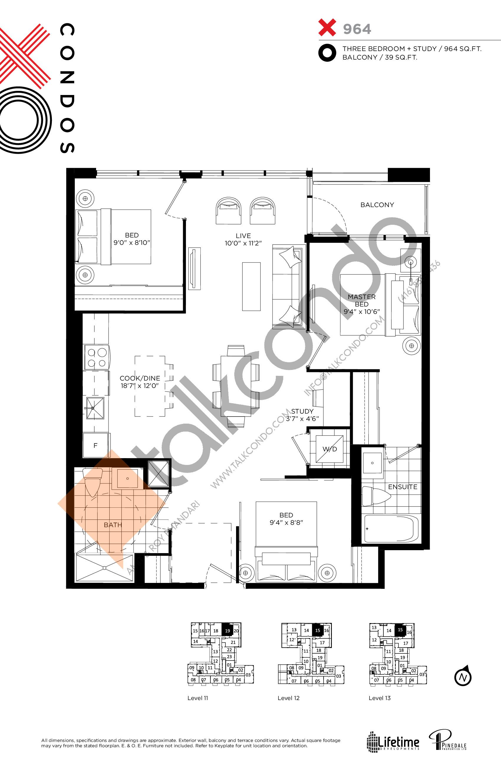 X964 Floor Plan at XO Condos - 964 sq.ft