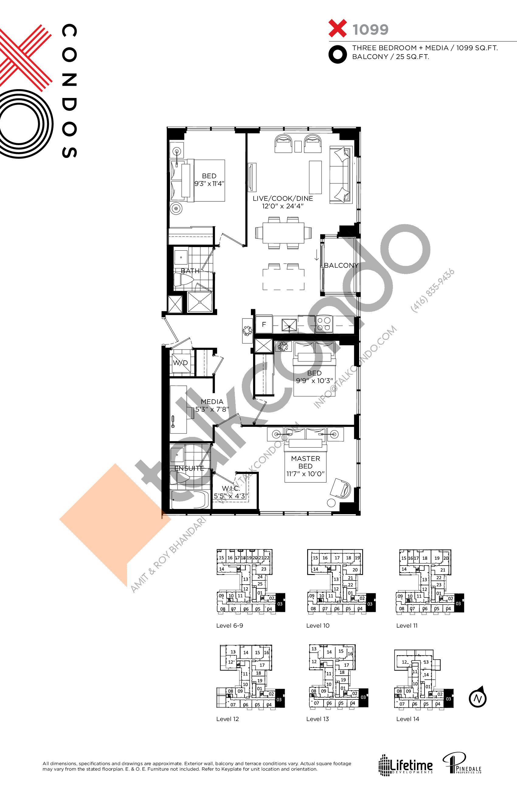 X1099 Floor Plan at XO Condos - 1099 sq.ft