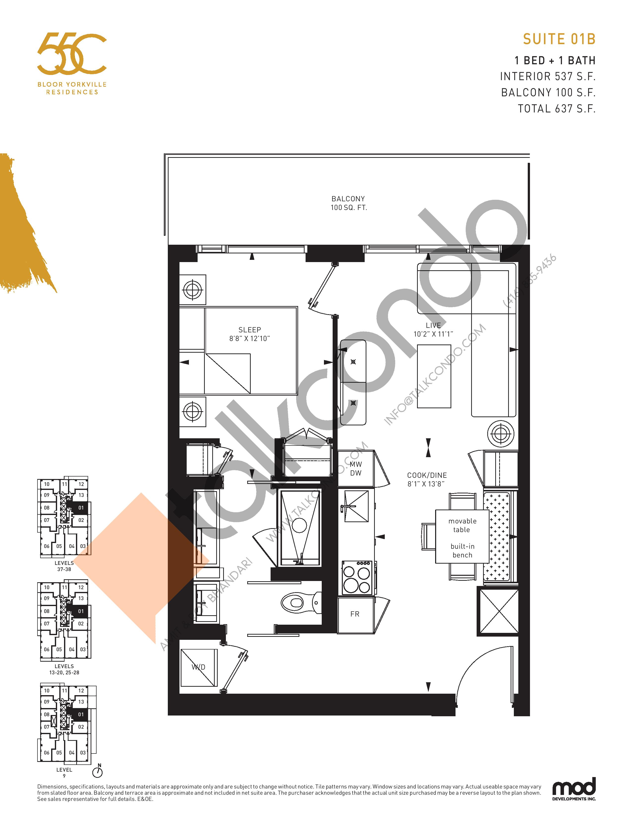 Suite 01B Floor Plan at 55C Condos - 537 sq.ft
