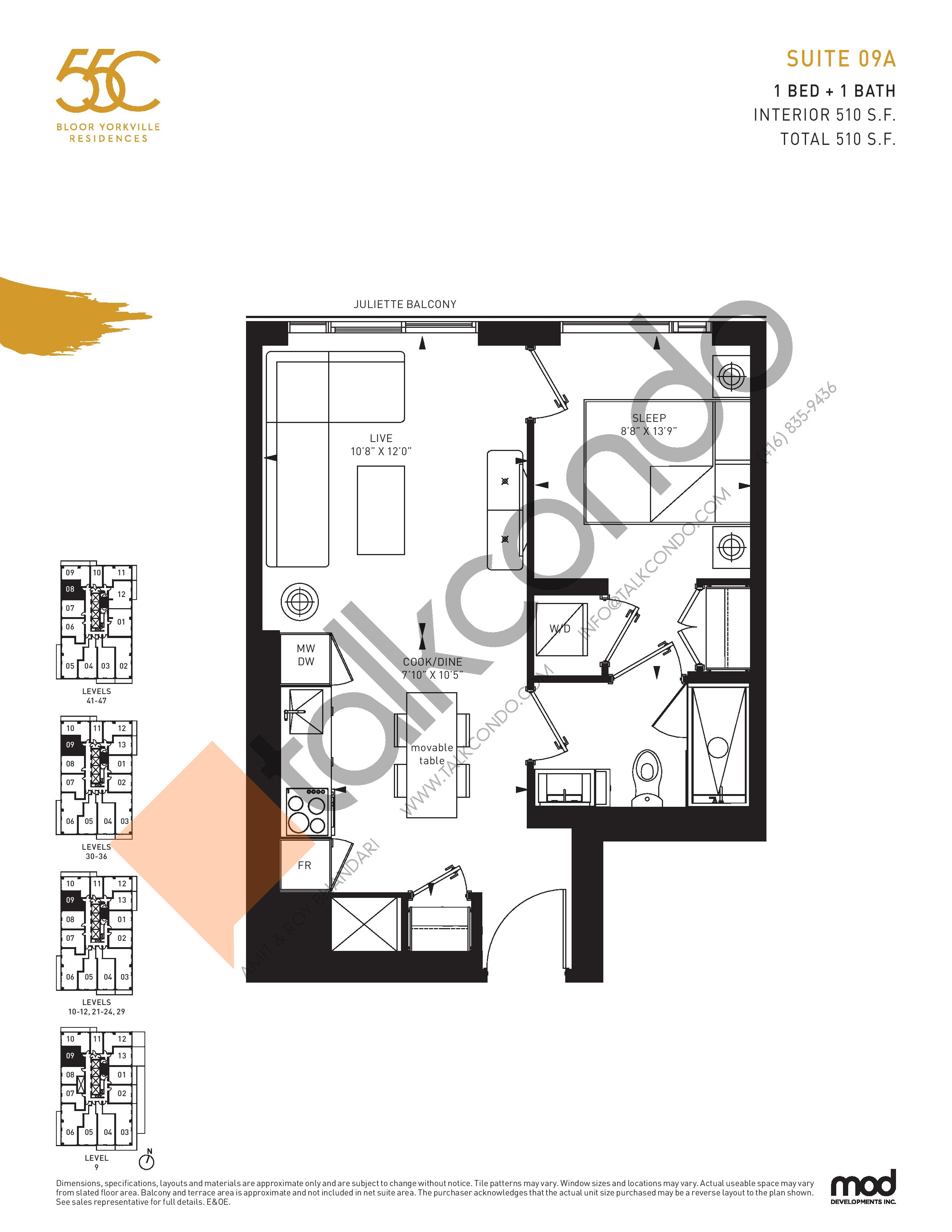 Suite 09A Floor Plan at 55C Condos - 510 sq.ft