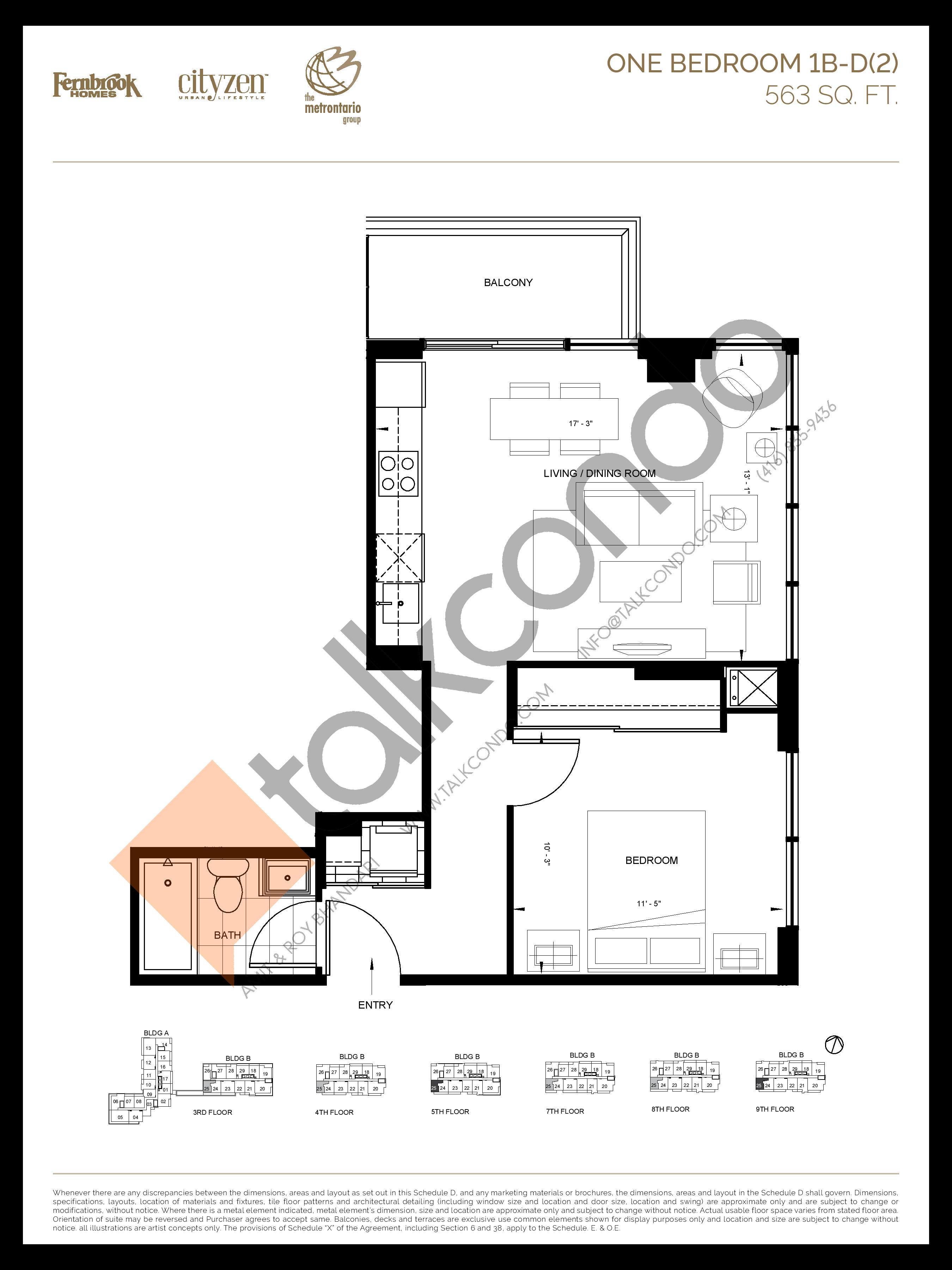1B-D(2) Floor Plan at D'or Condos - 563 sq.ft