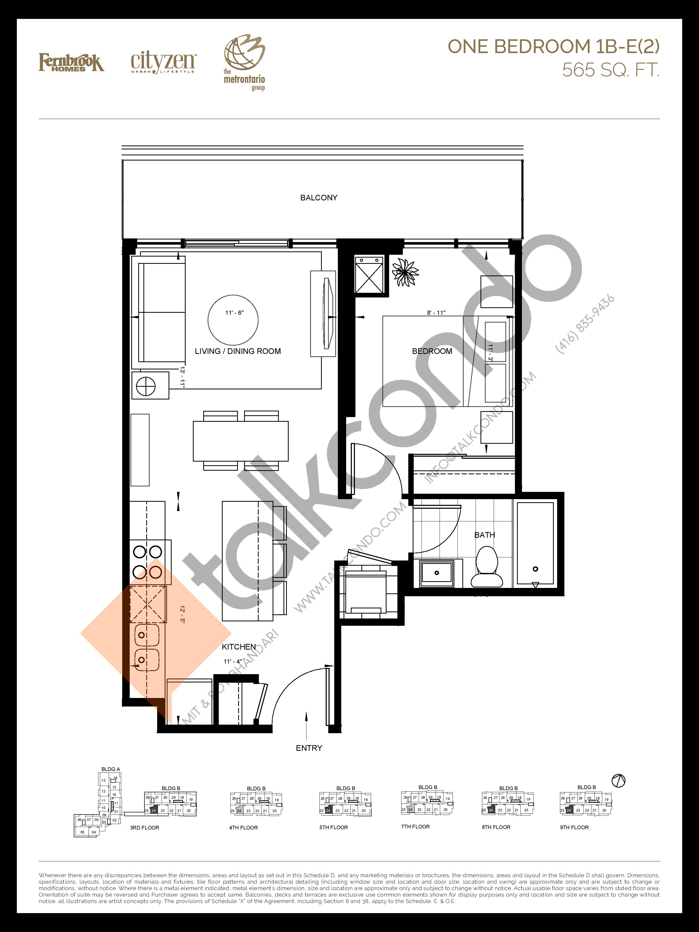 1B-E(2) Floor Plan at D'or Condos - 565 sq.ft