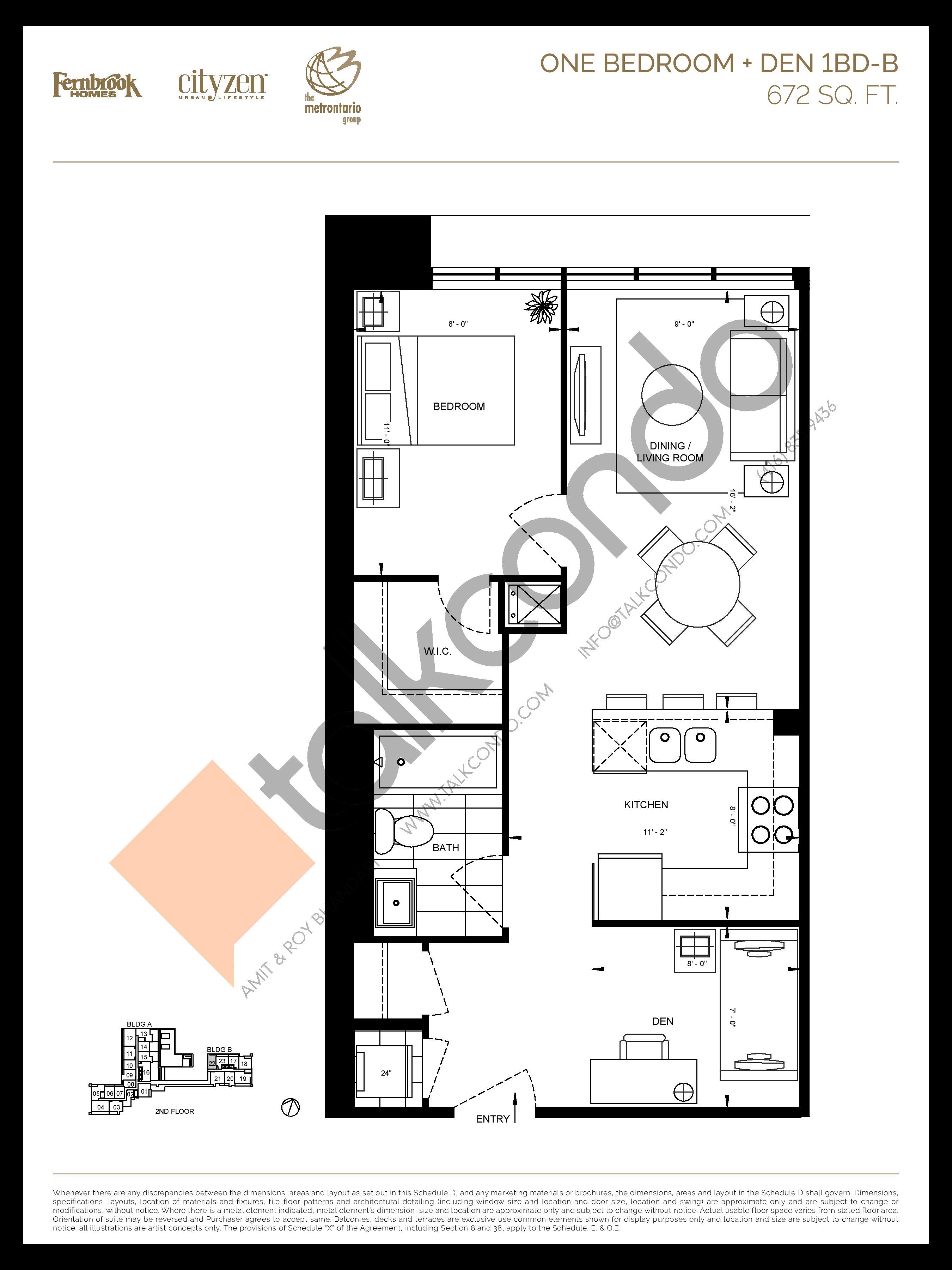 1BD-B Floor Plan at D'or Condos - 672 sq.ft
