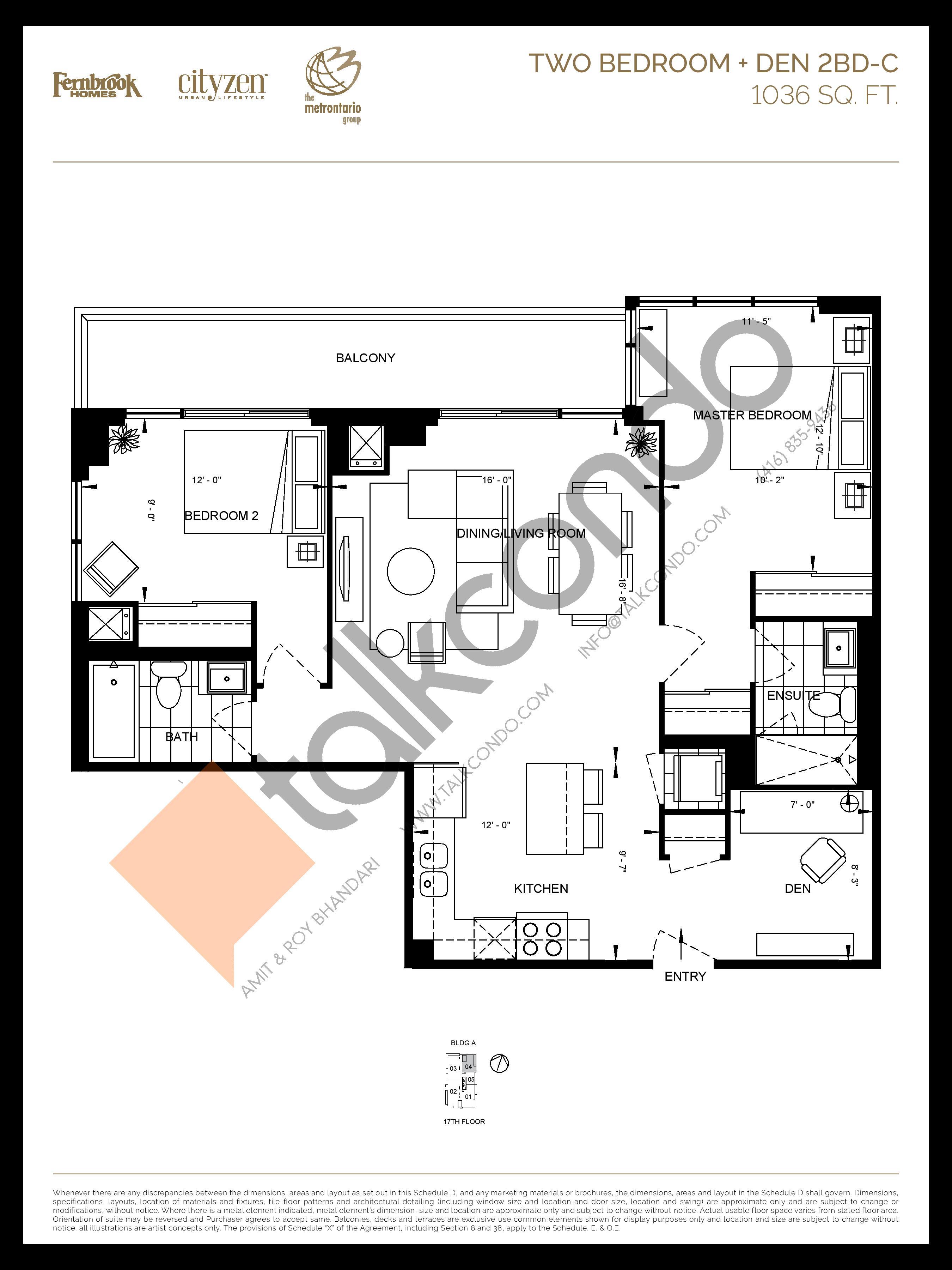 2BD-C Floor Plan at D'or Condos - 1036 sq.ft