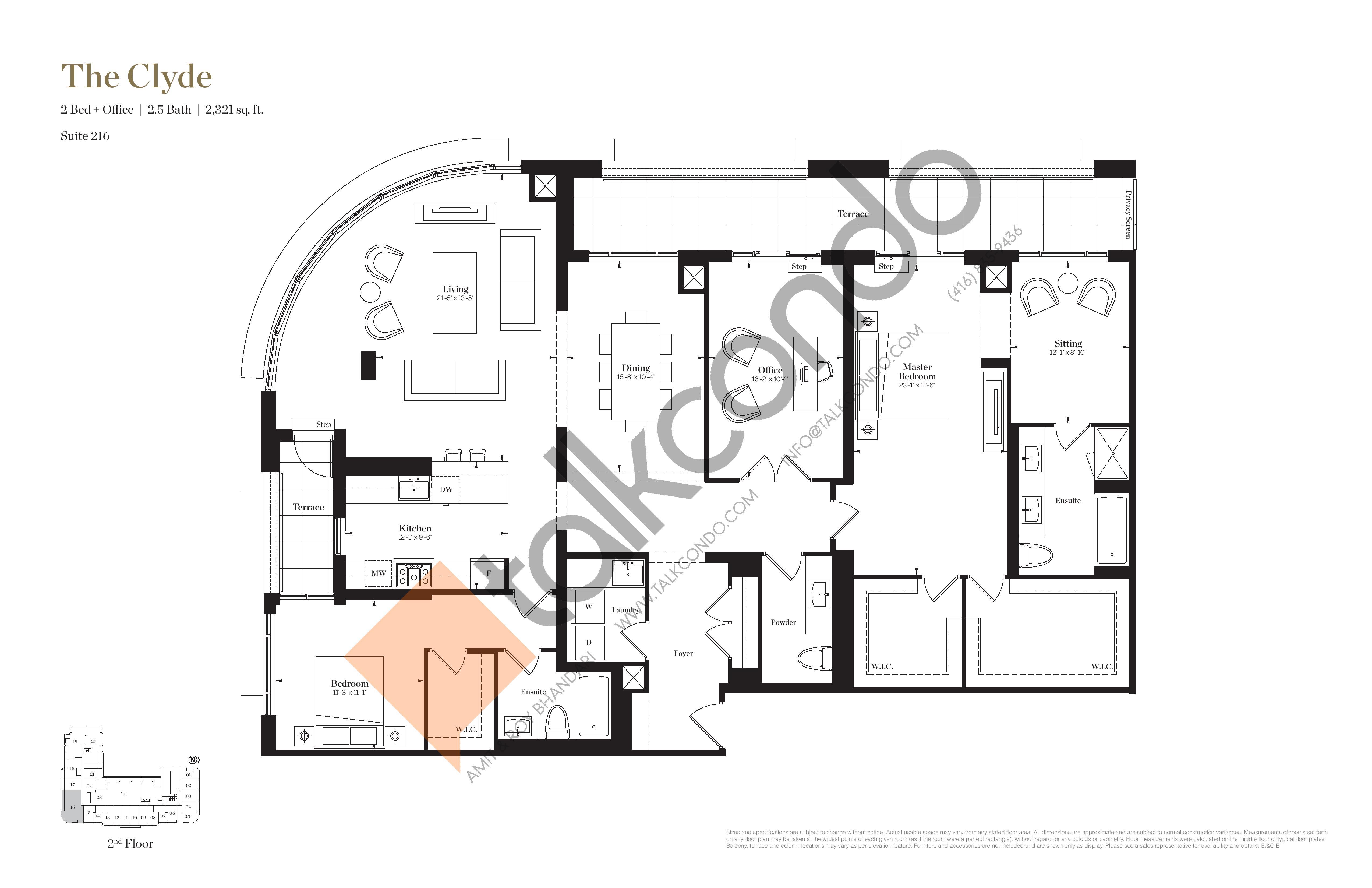 The Clyde Floor Plan at Empire Maven Condos - 2321 sq.ft
