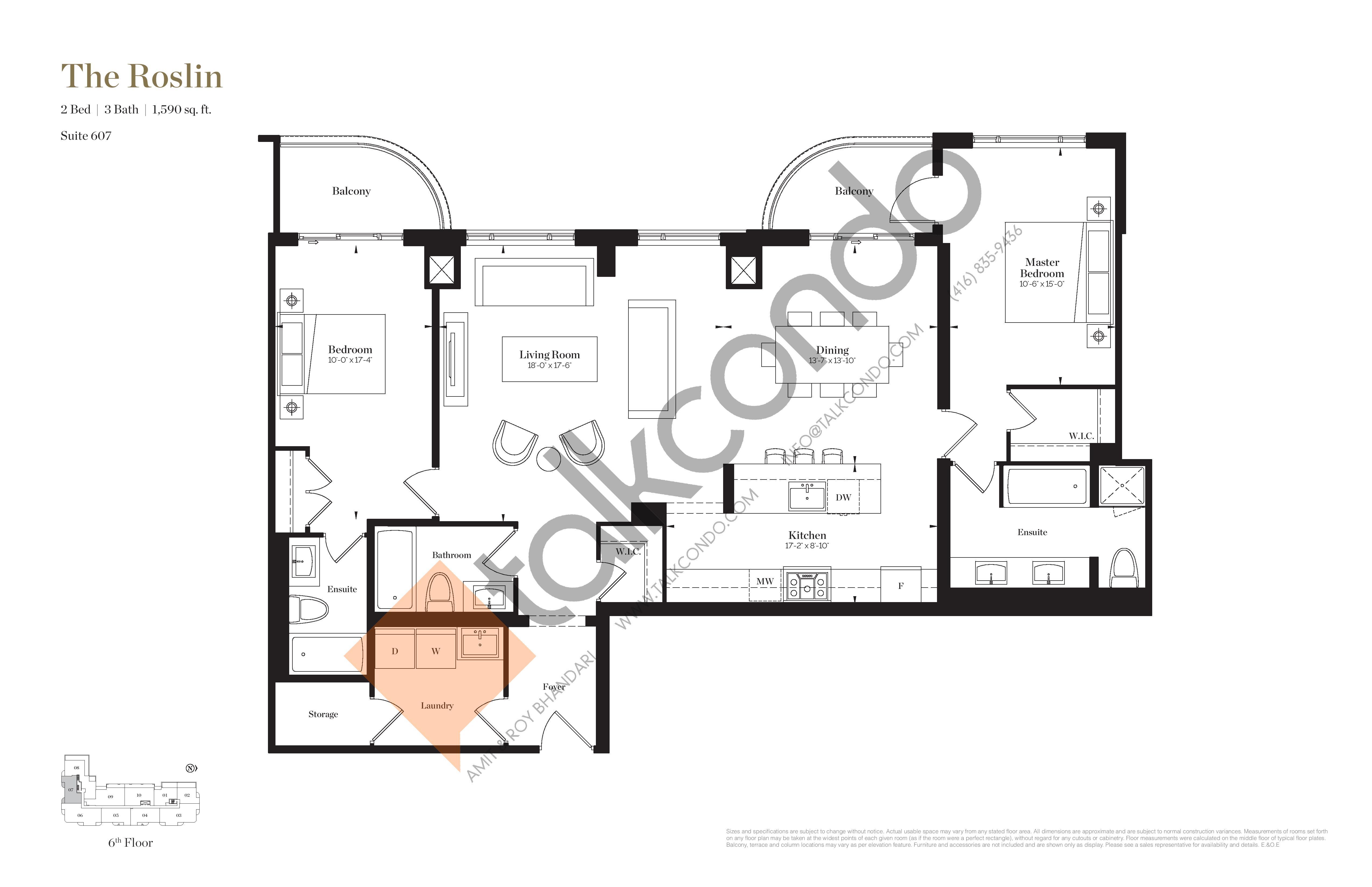 The Roslin Floor Plan at Empire Maven Condos - 1590 sq.ft