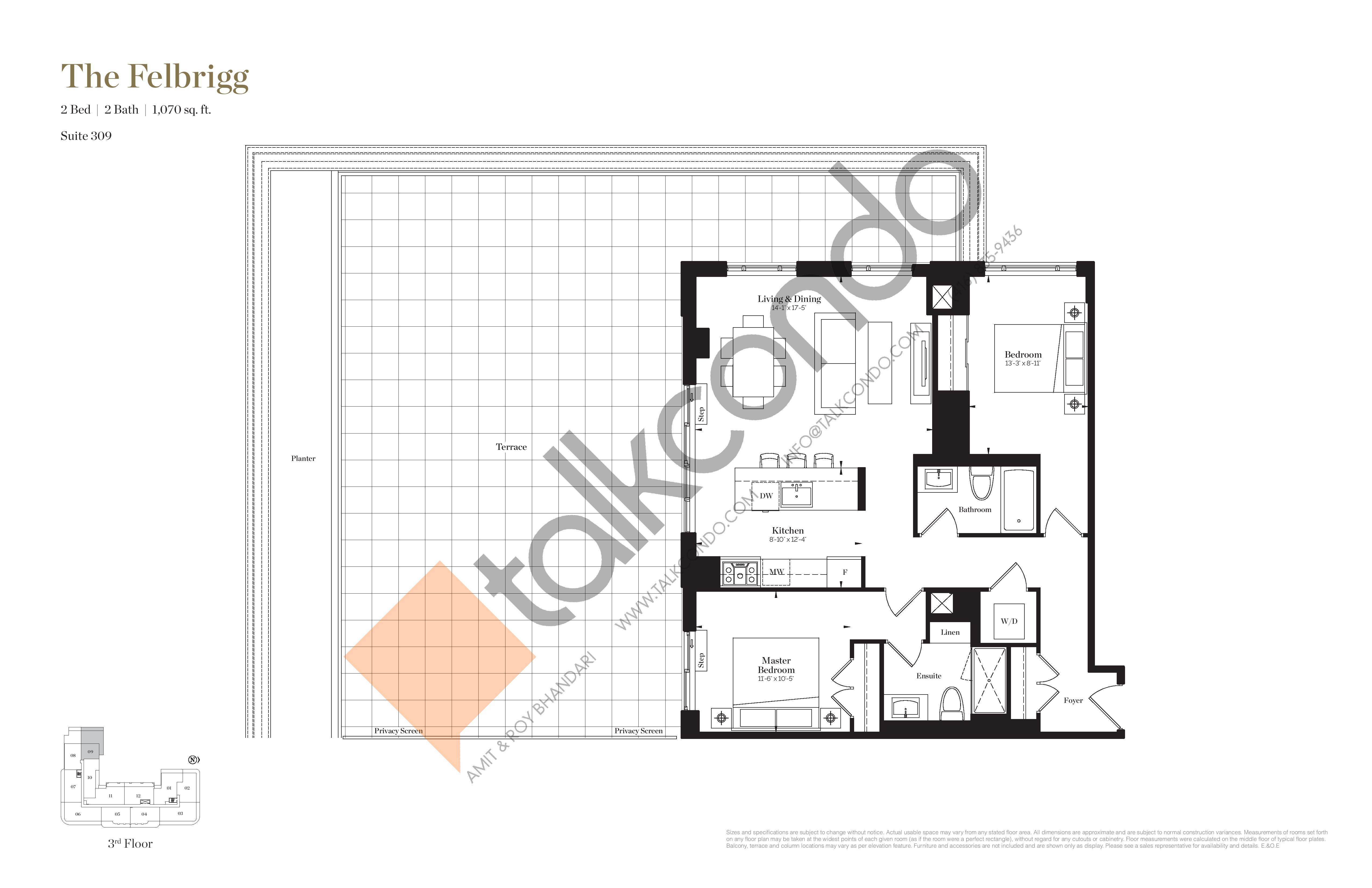 The Felbrigg Floor Plan at Empire Maven Condos - 1070 sq.ft