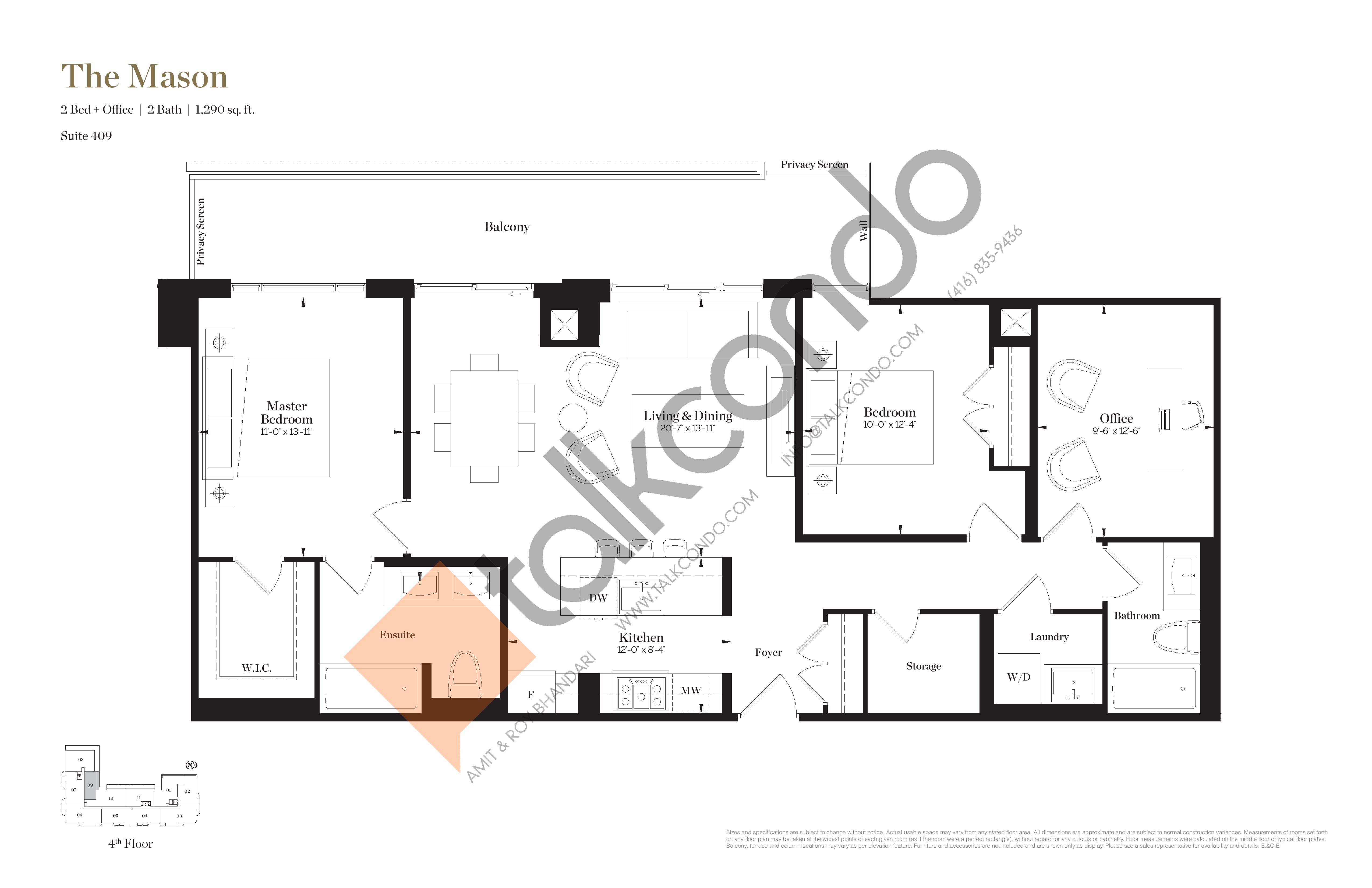 The Mason Floor Plan at Empire Maven Condos - 1290 sq.ft