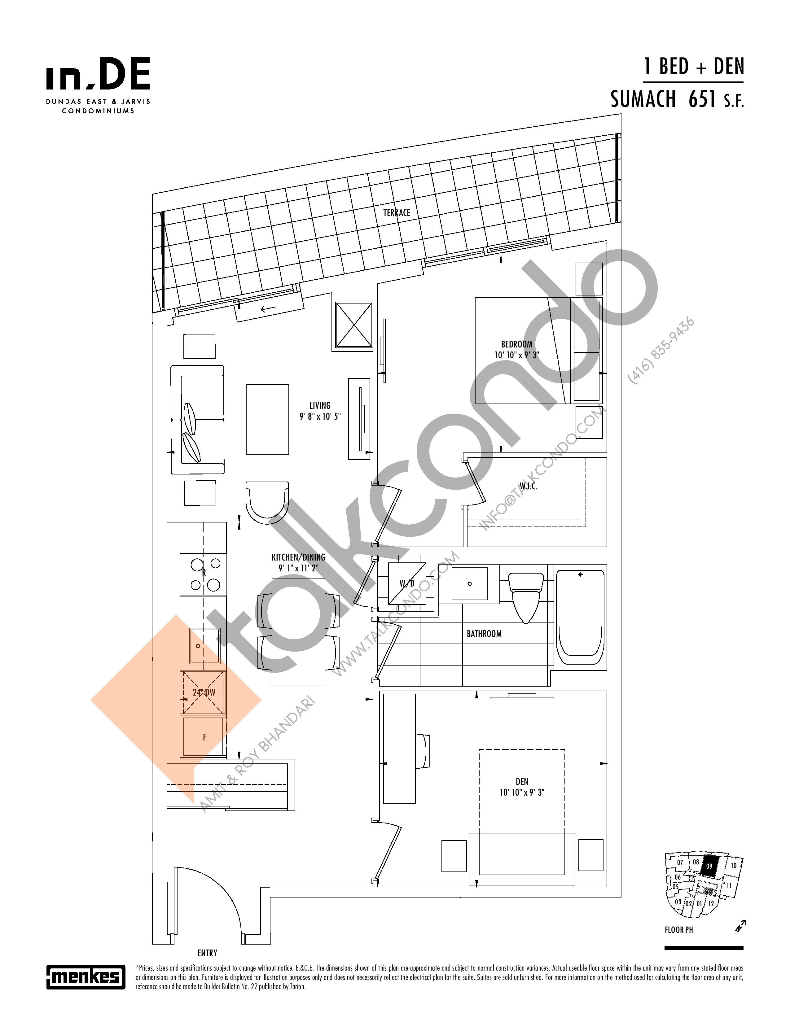Sumach Floor Plan at in.DE Condos - 651 sq.ft